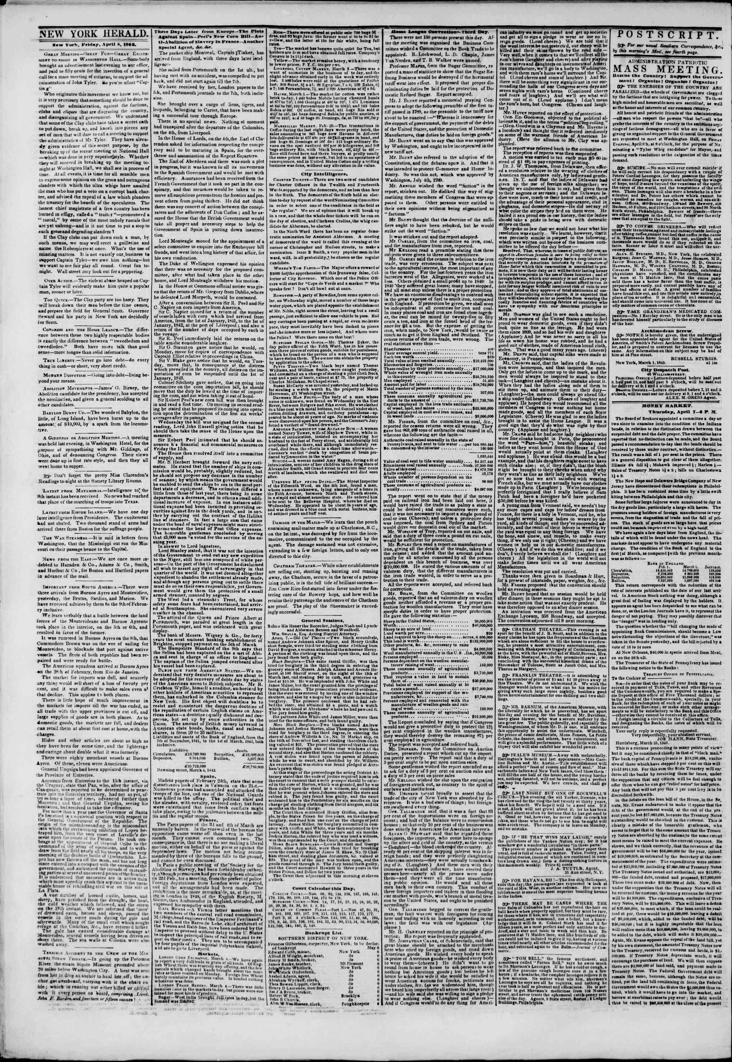 April 8, 1842 Tarihli The New York Herald Gazetesi Sayfa 2