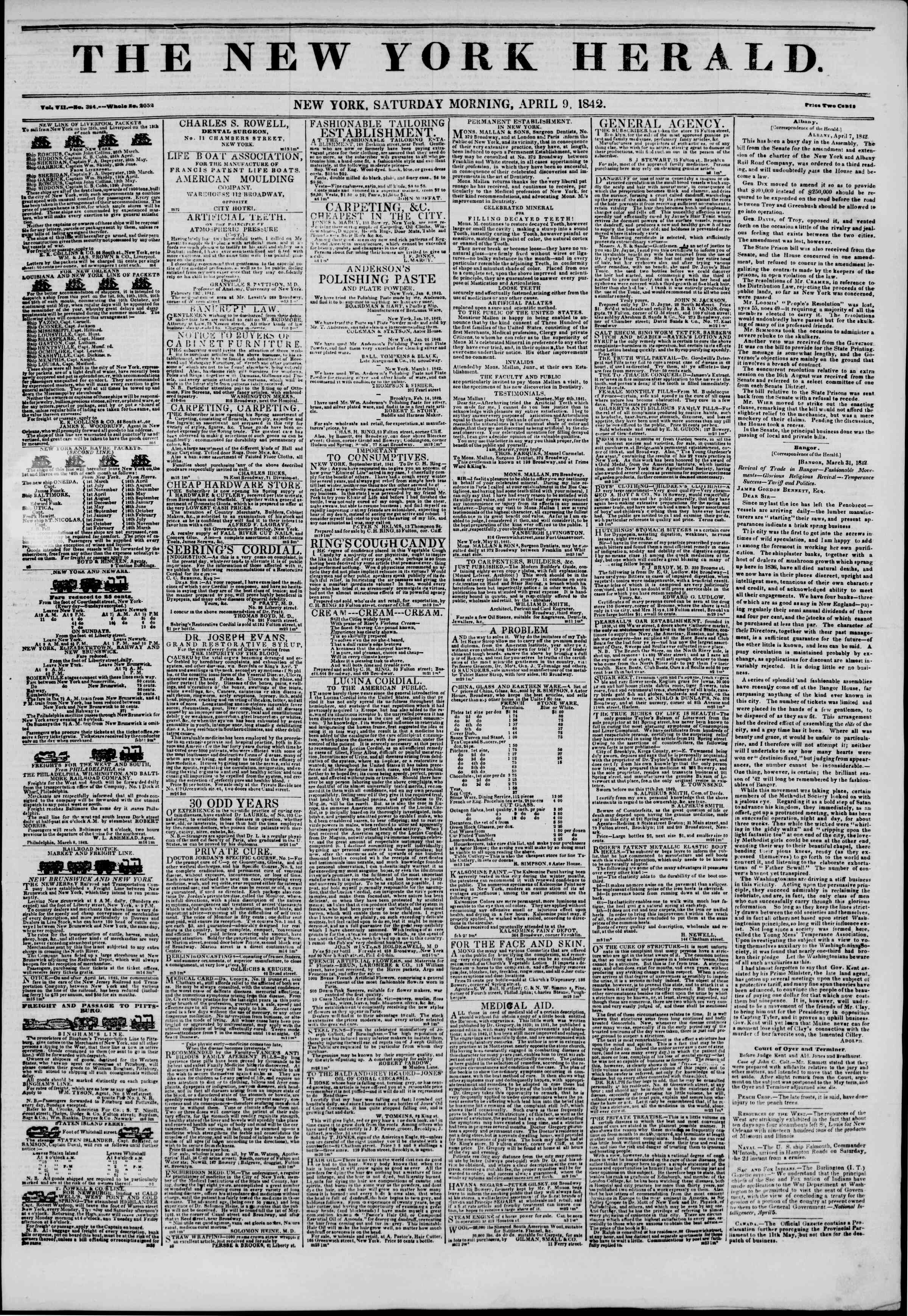 April 9, 1842 Tarihli The New York Herald Gazetesi Sayfa 1