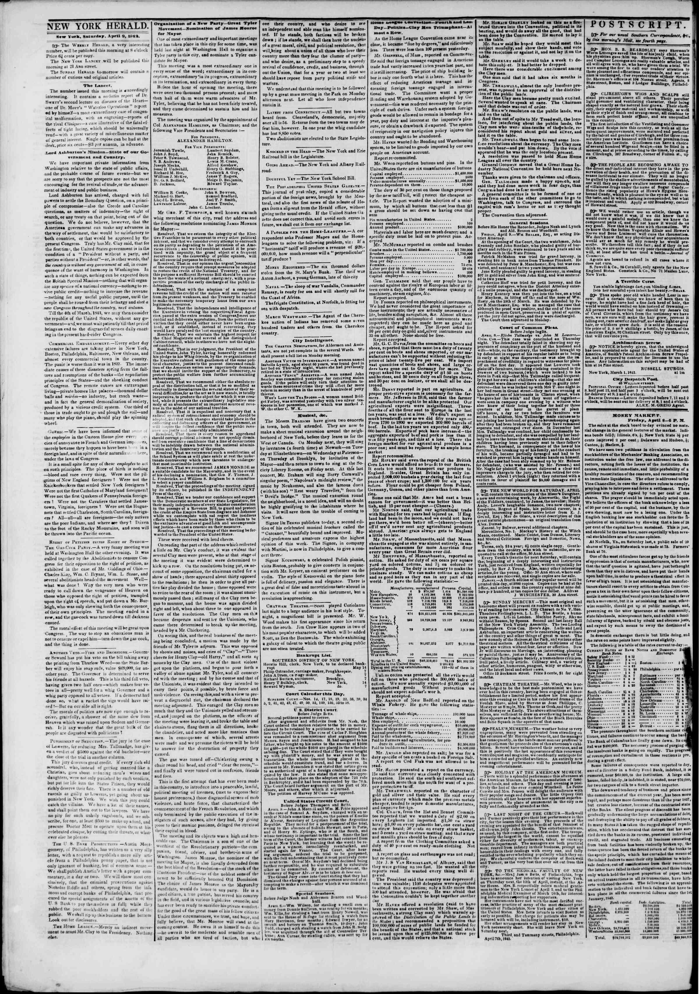 April 9, 1842 Tarihli The New York Herald Gazetesi Sayfa 2