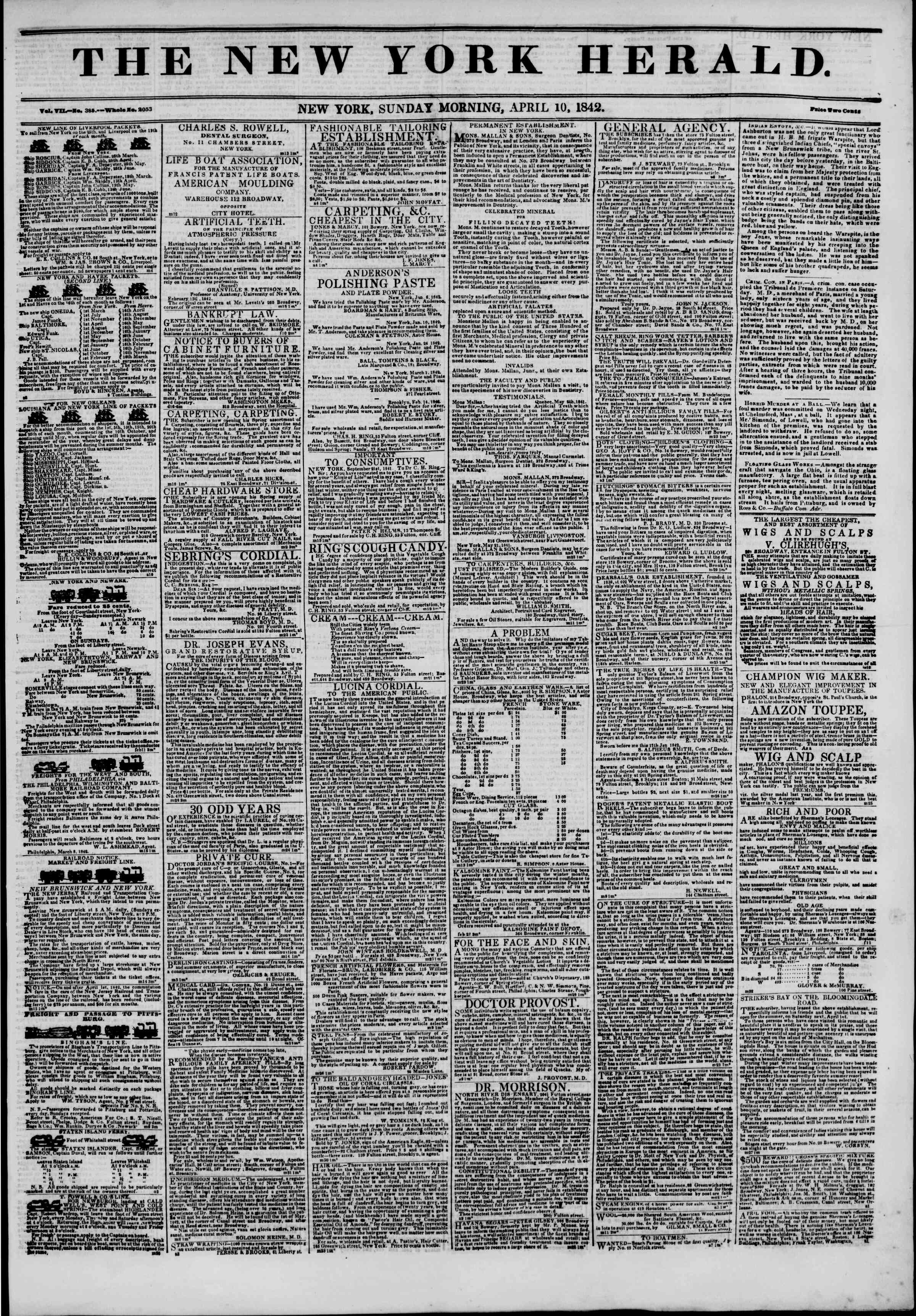 Newspaper of The New York Herald dated April 10, 1842 Page 1