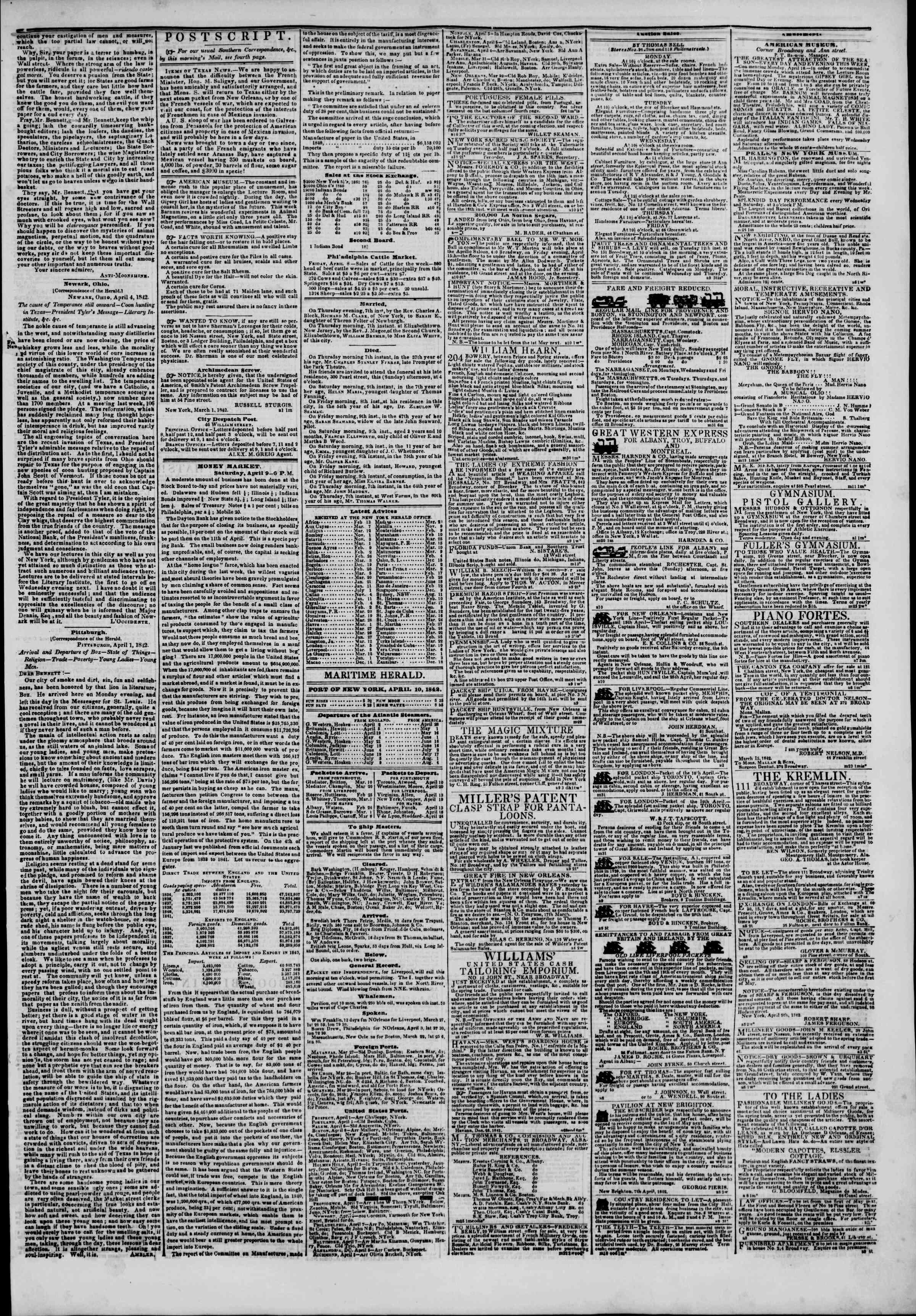 April 10, 1842 Tarihli The New York Herald Gazetesi Sayfa 3