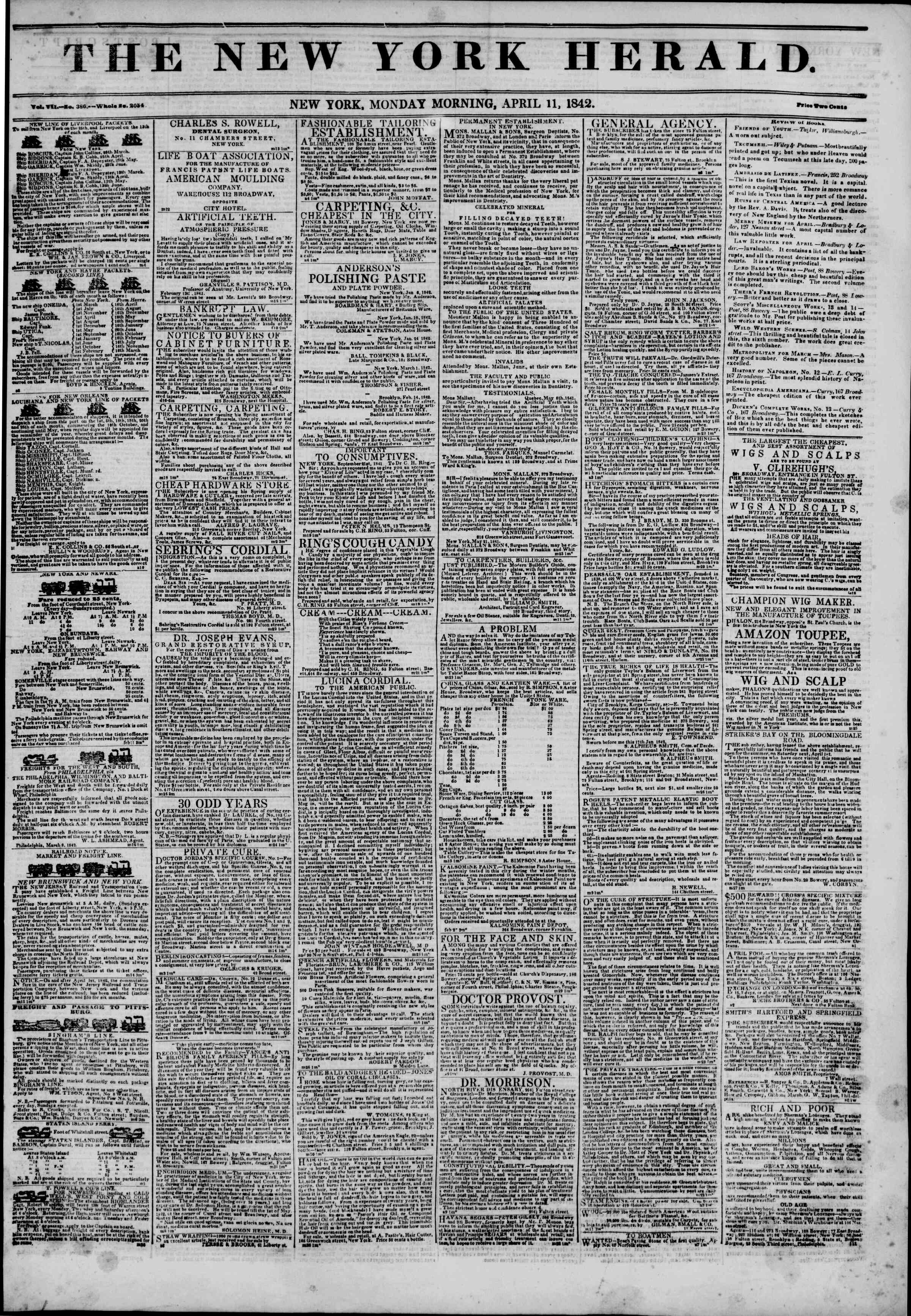 Newspaper of The New York Herald dated April 11, 1842 Page 1