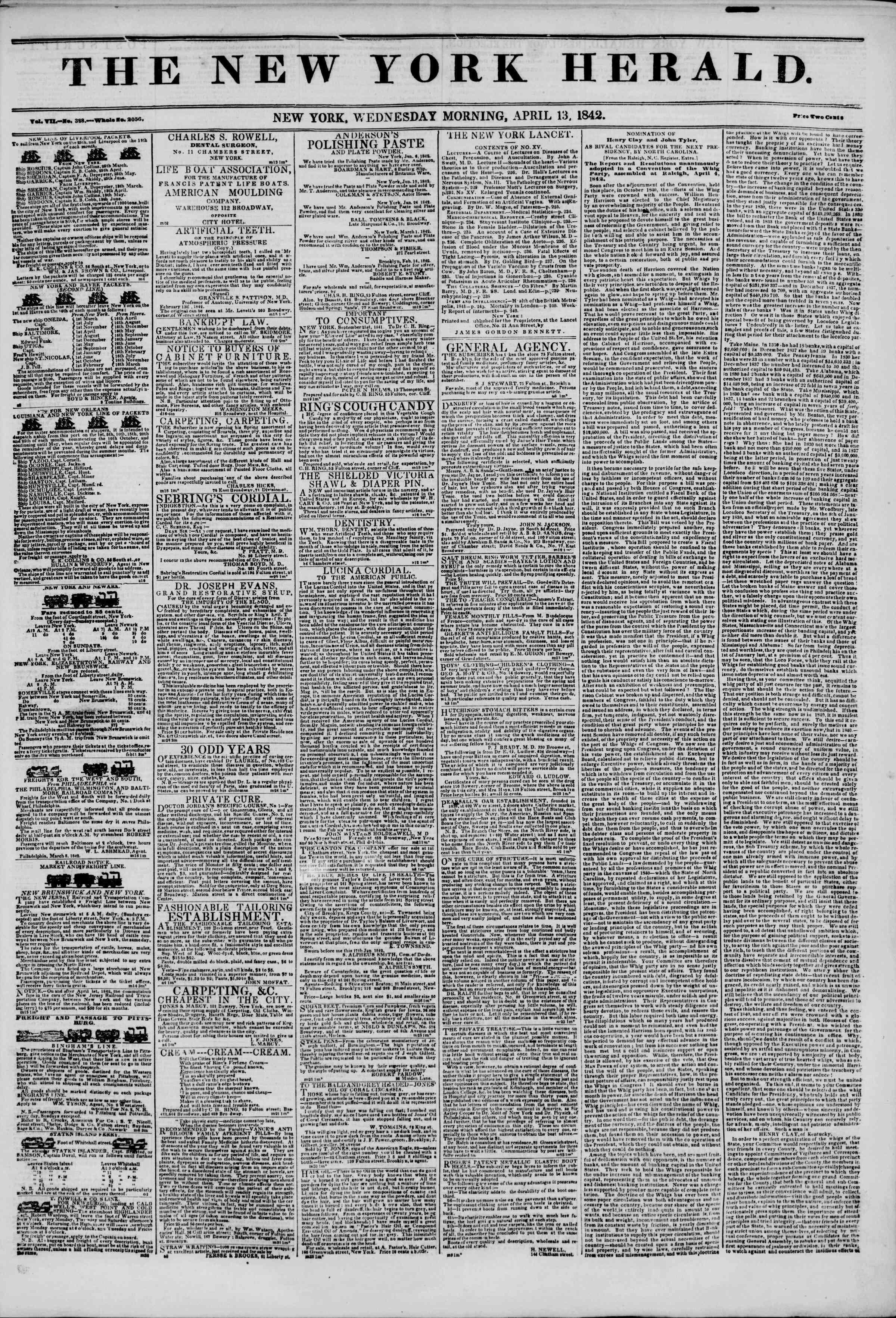 April 13, 1842 Tarihli The New York Herald Gazetesi Sayfa 1