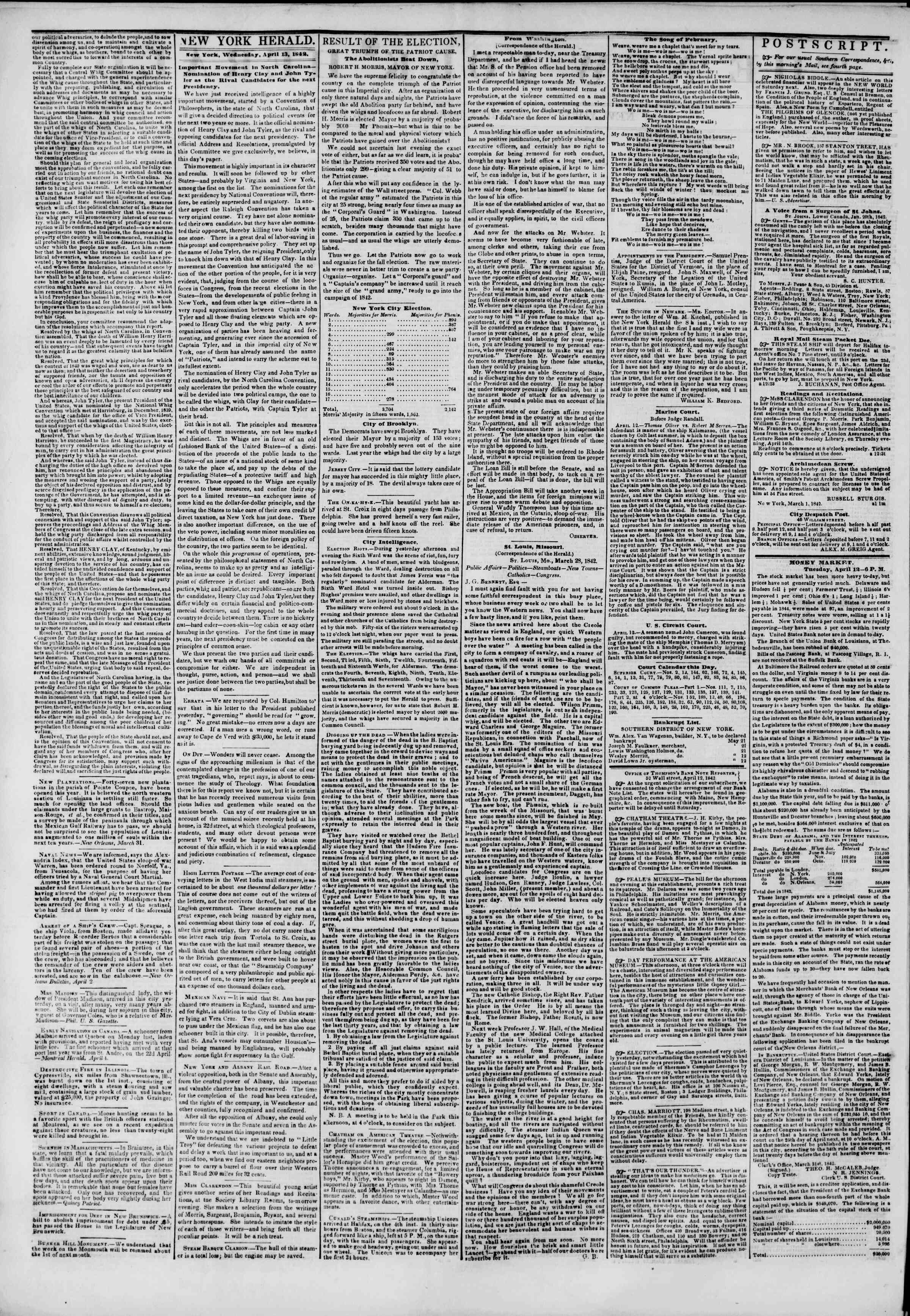 Newspaper of The New York Herald dated April 13, 1842 Page 2