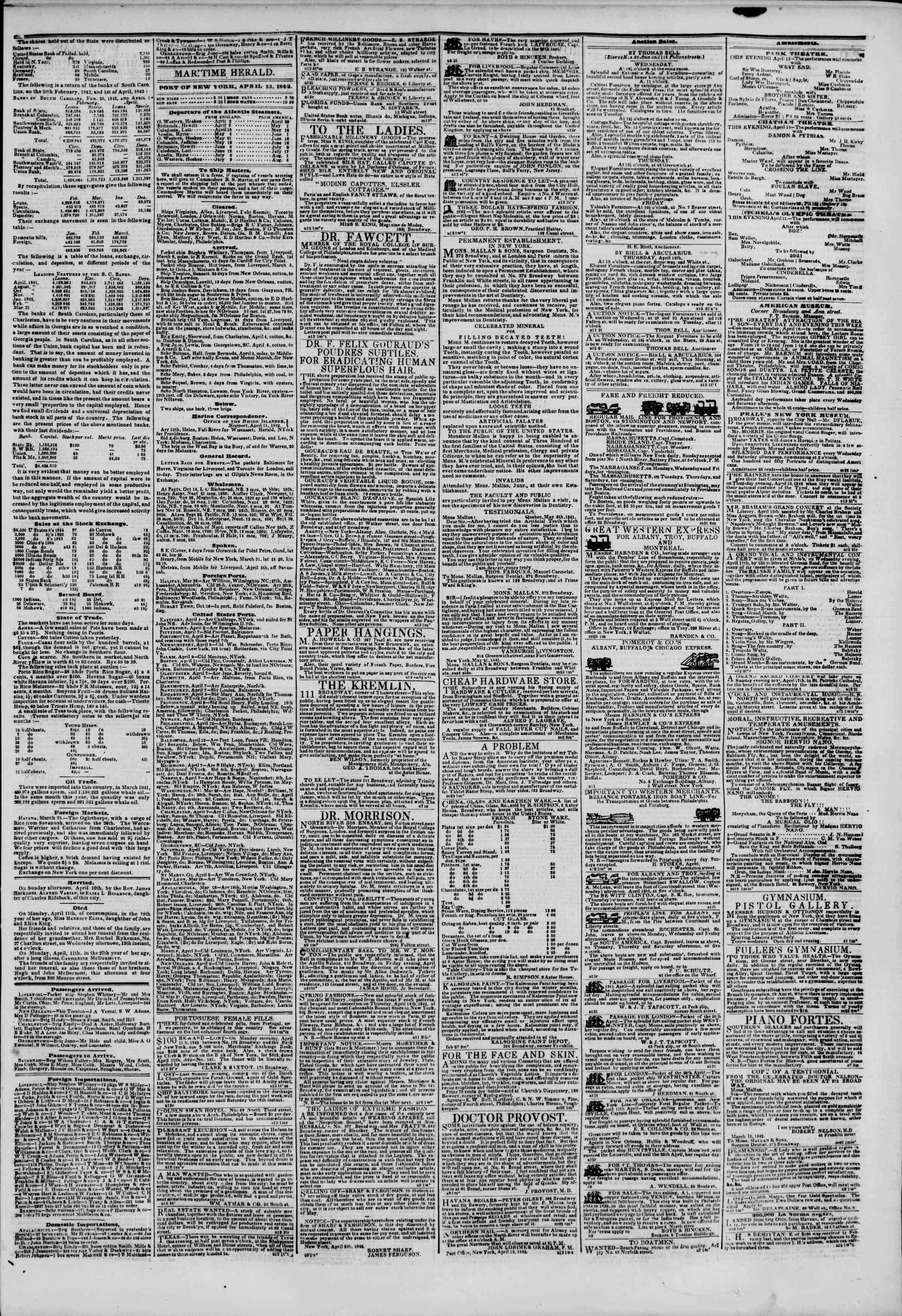 April 13, 1842 Tarihli The New York Herald Gazetesi Sayfa 3