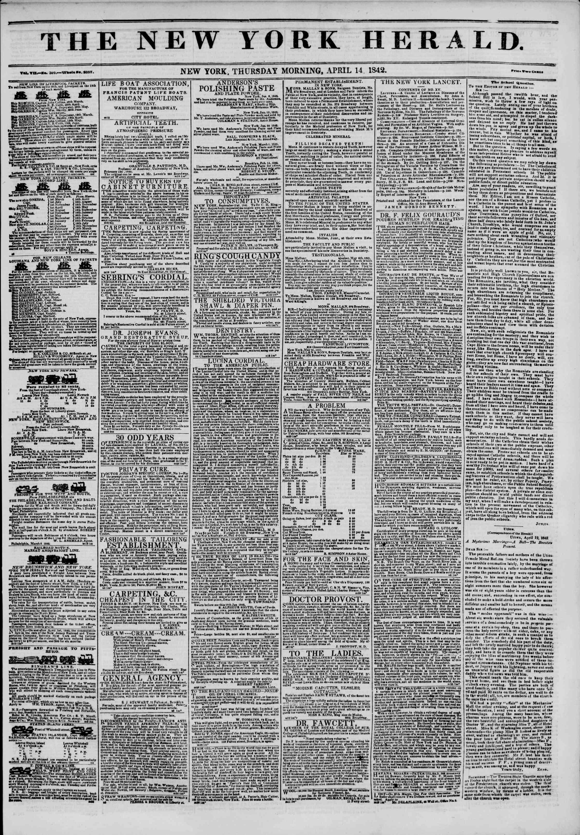 April 14, 1842 Tarihli The New York Herald Gazetesi Sayfa 1