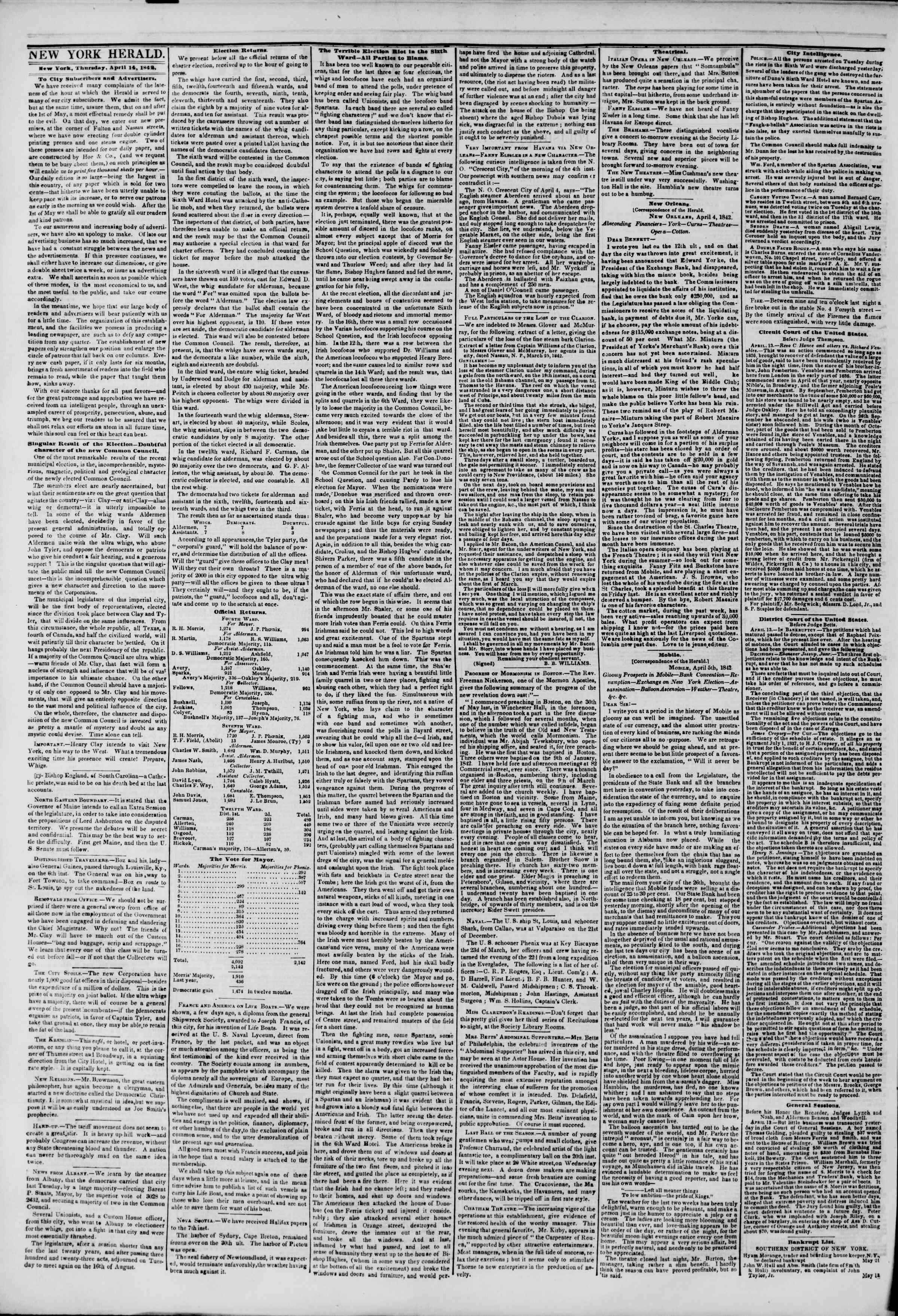 14 Nisan 1842 tarihli The New York Herald Gazetesi Sayfa 2
