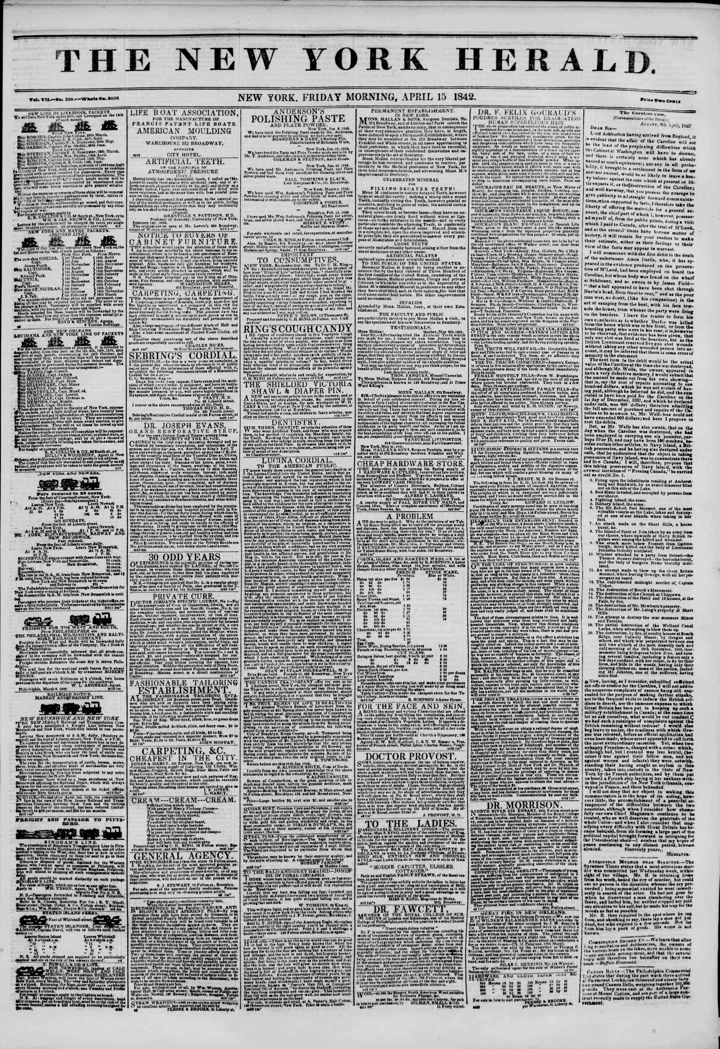 April 15, 1842 Tarihli The New York Herald Gazetesi Sayfa 1