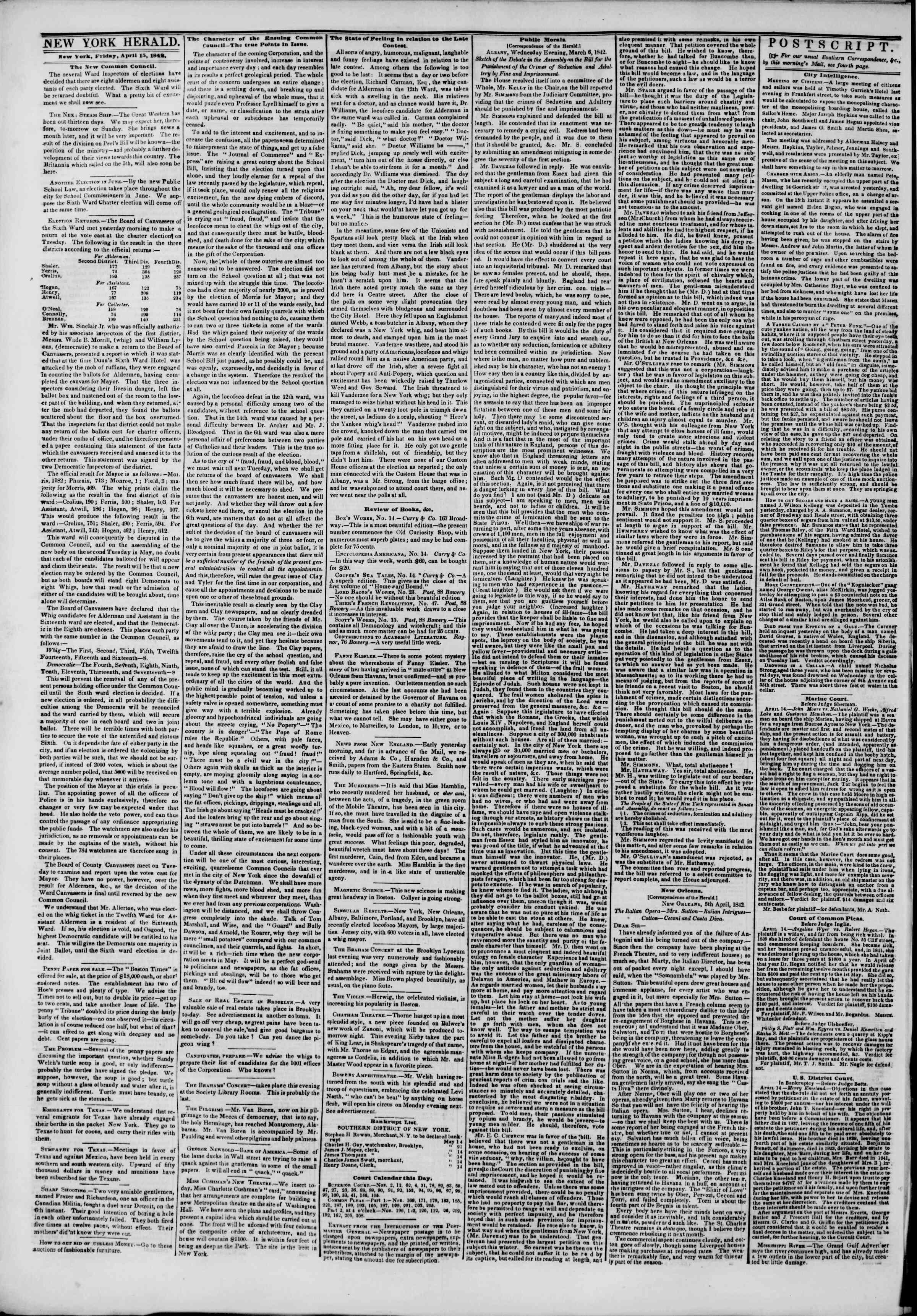 April 15, 1842 Tarihli The New York Herald Gazetesi Sayfa 2