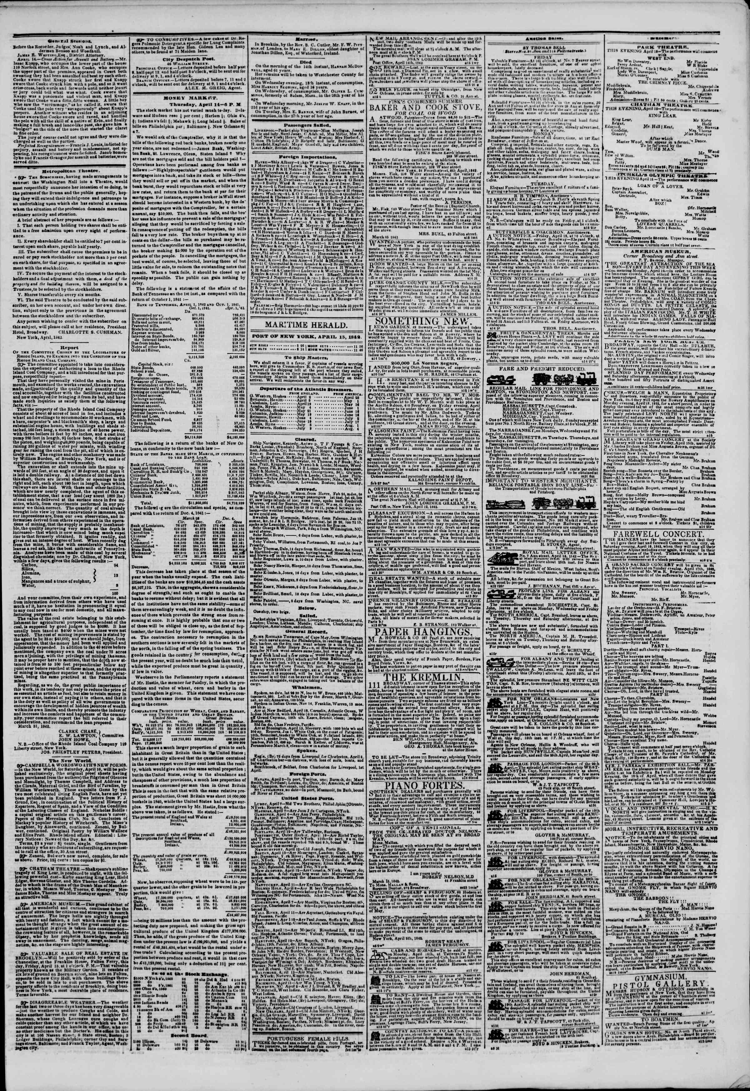15 Nisan 1842 tarihli The New York Herald Gazetesi Sayfa 3