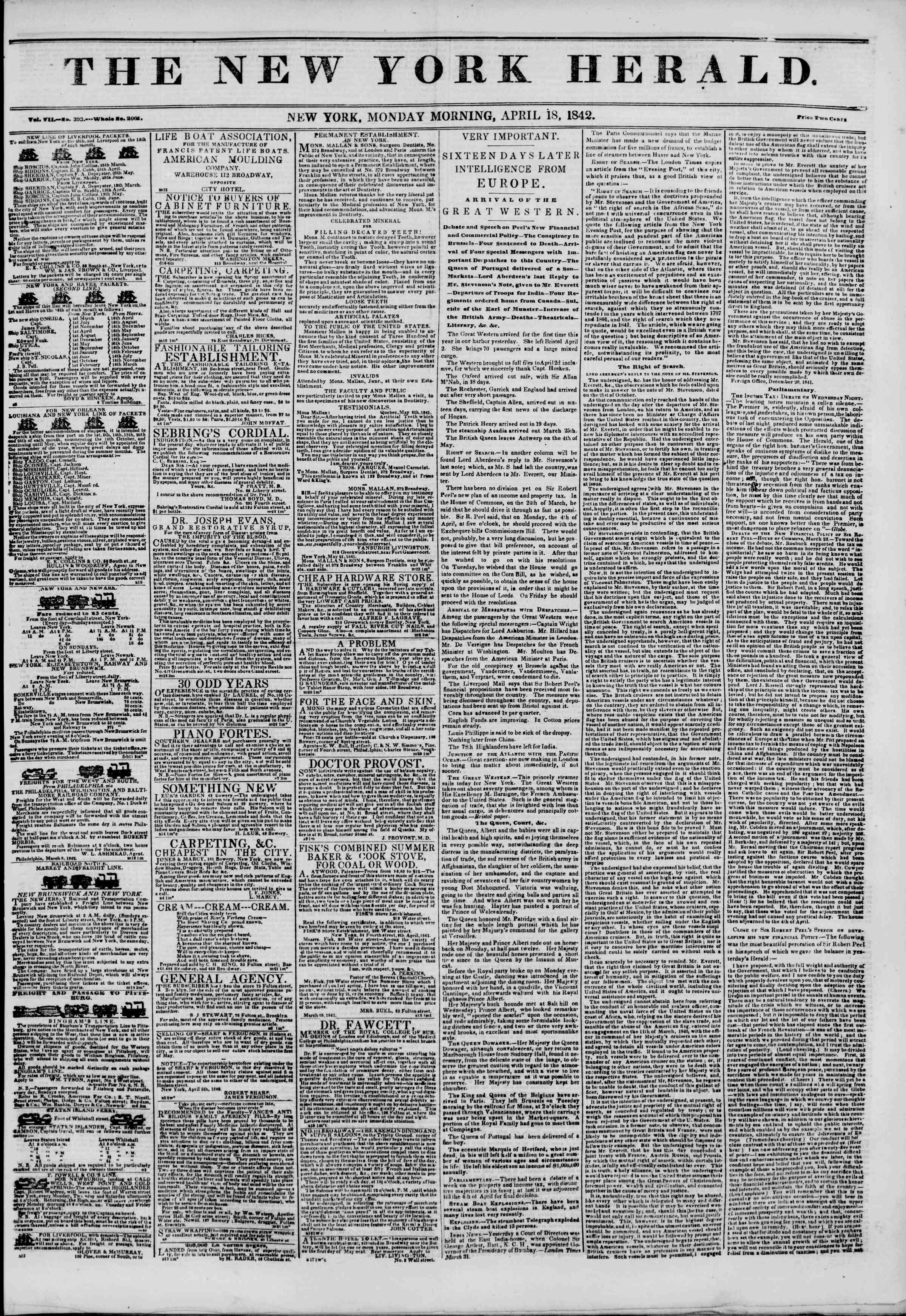 April 18, 1842 Tarihli The New York Herald Gazetesi Sayfa 1