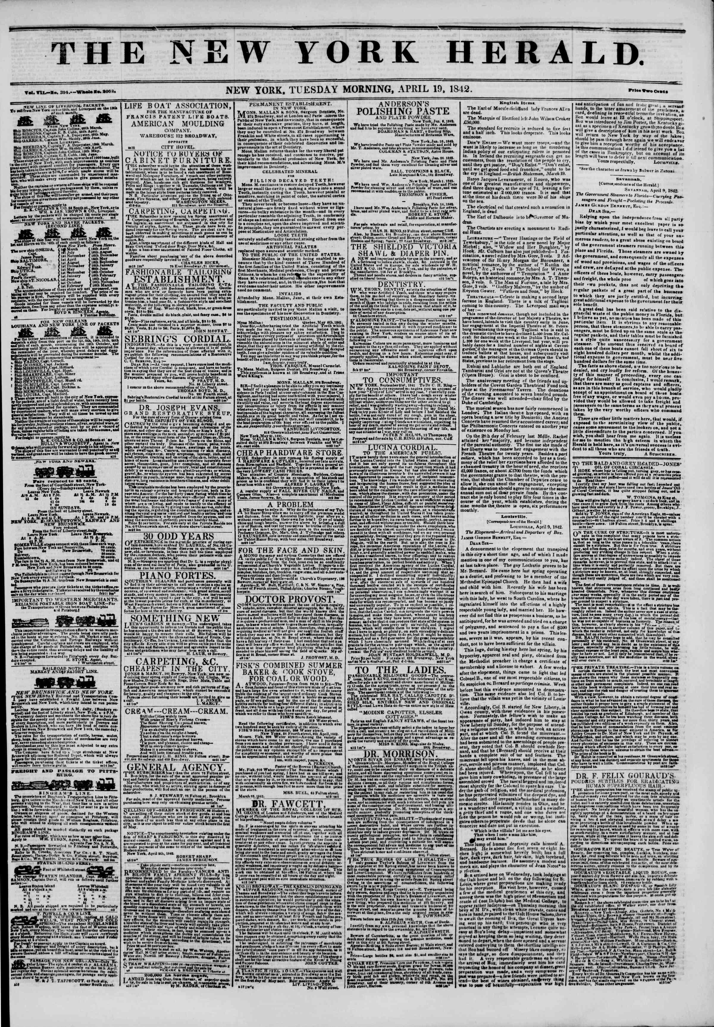 April 19, 1842 Tarihli The New York Herald Gazetesi Sayfa 1