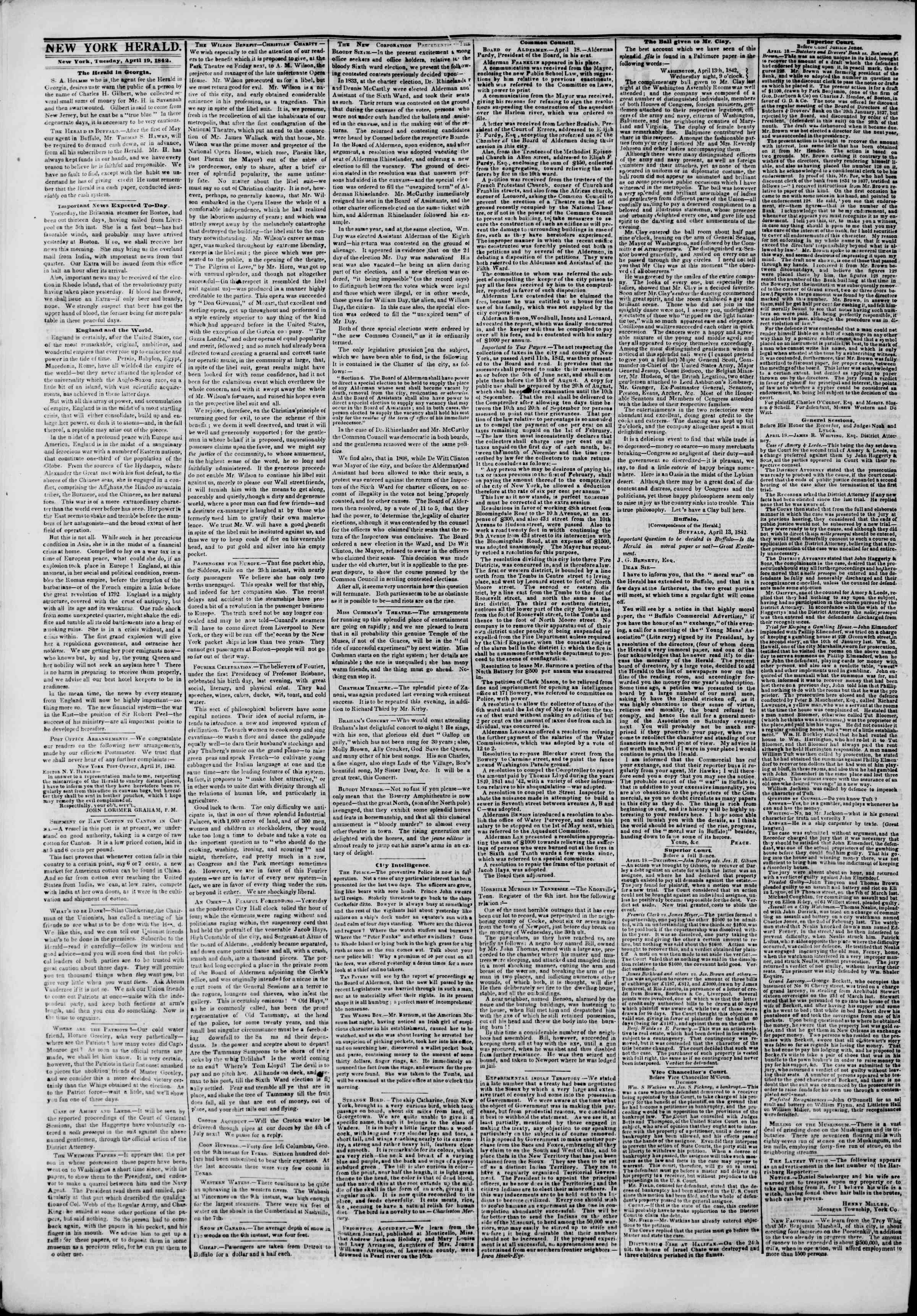 Newspaper of The New York Herald dated April 19, 1842 Page 2
