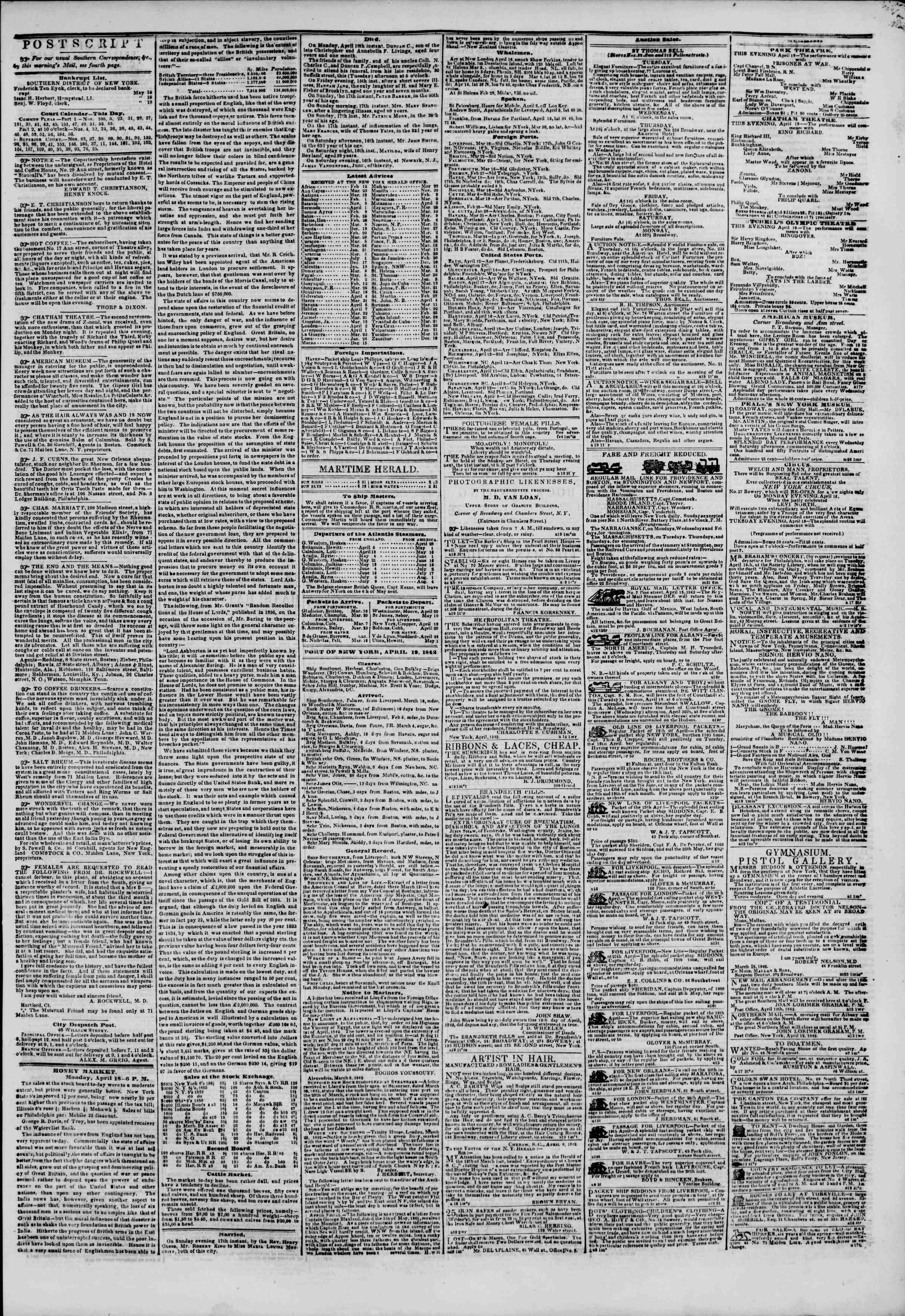 April 19, 1842 Tarihli The New York Herald Gazetesi Sayfa 3