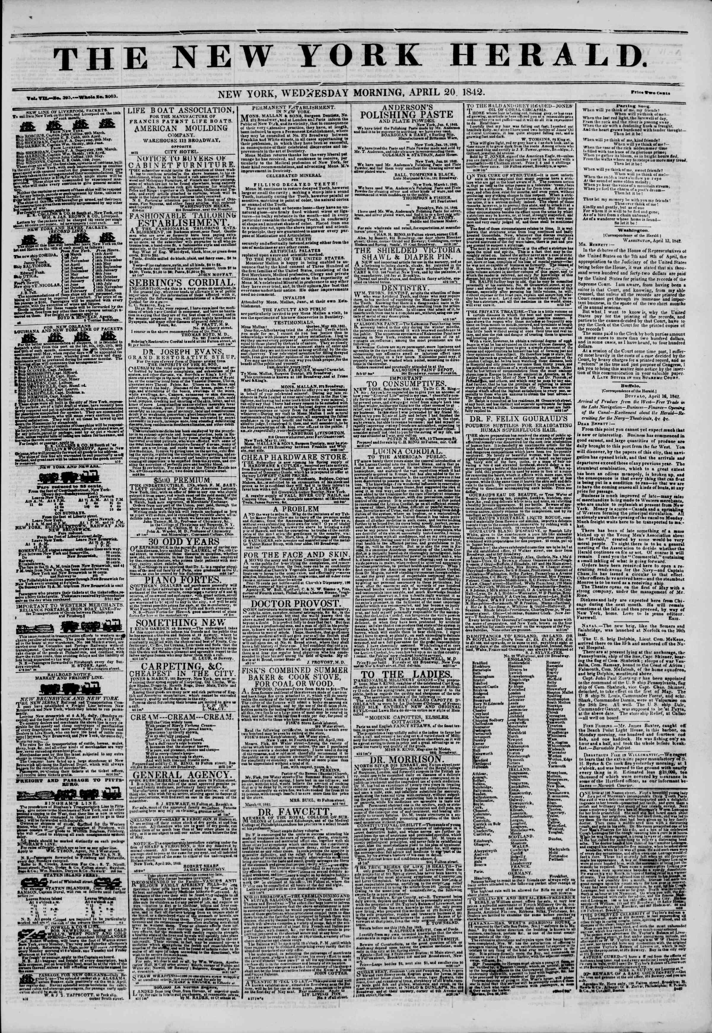 April 20, 1842 Tarihli The New York Herald Gazetesi Sayfa 1