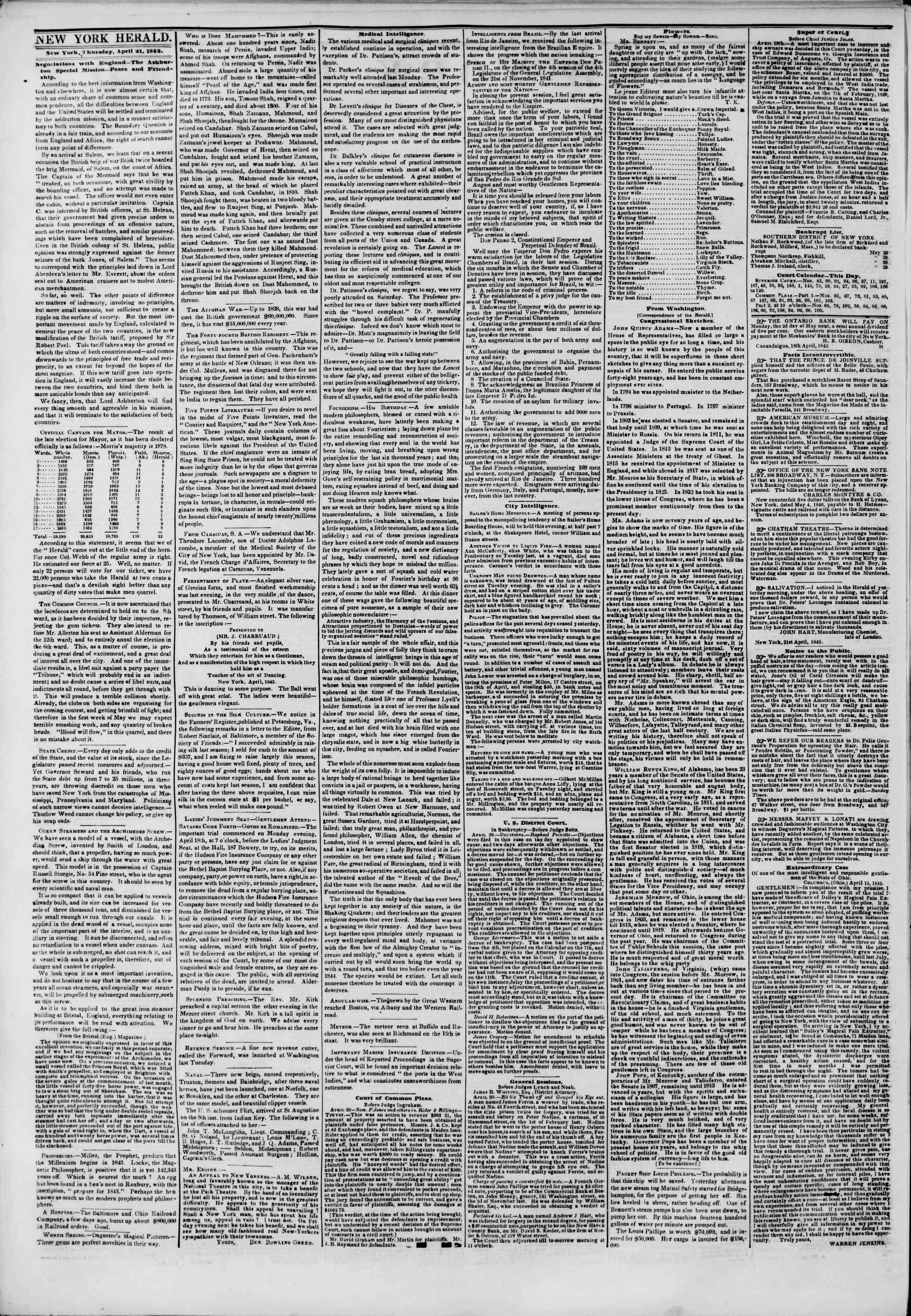 April 21, 1842 Tarihli The New York Herald Gazetesi Sayfa 2