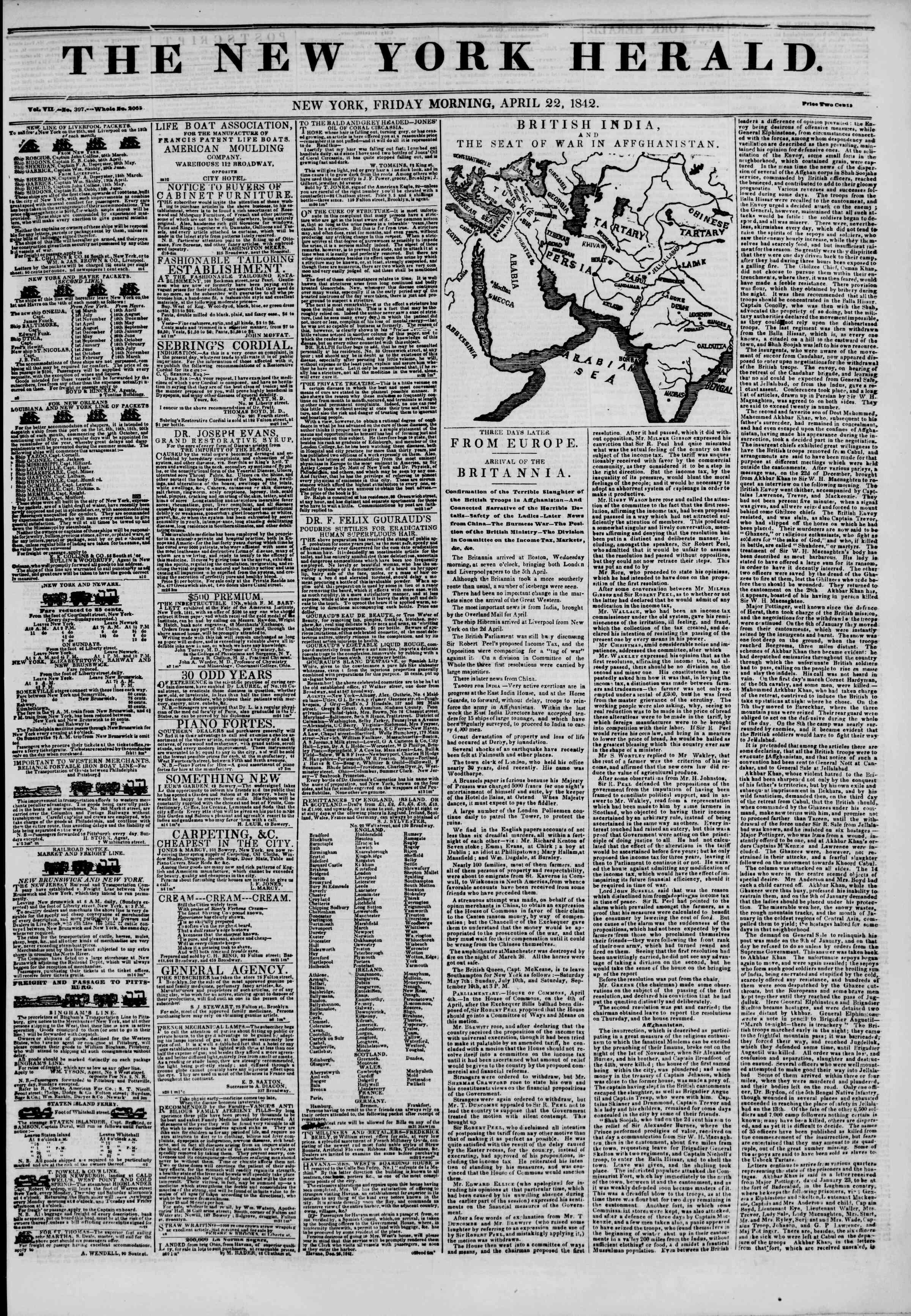 April 22, 1842 Tarihli The New York Herald Gazetesi Sayfa 1