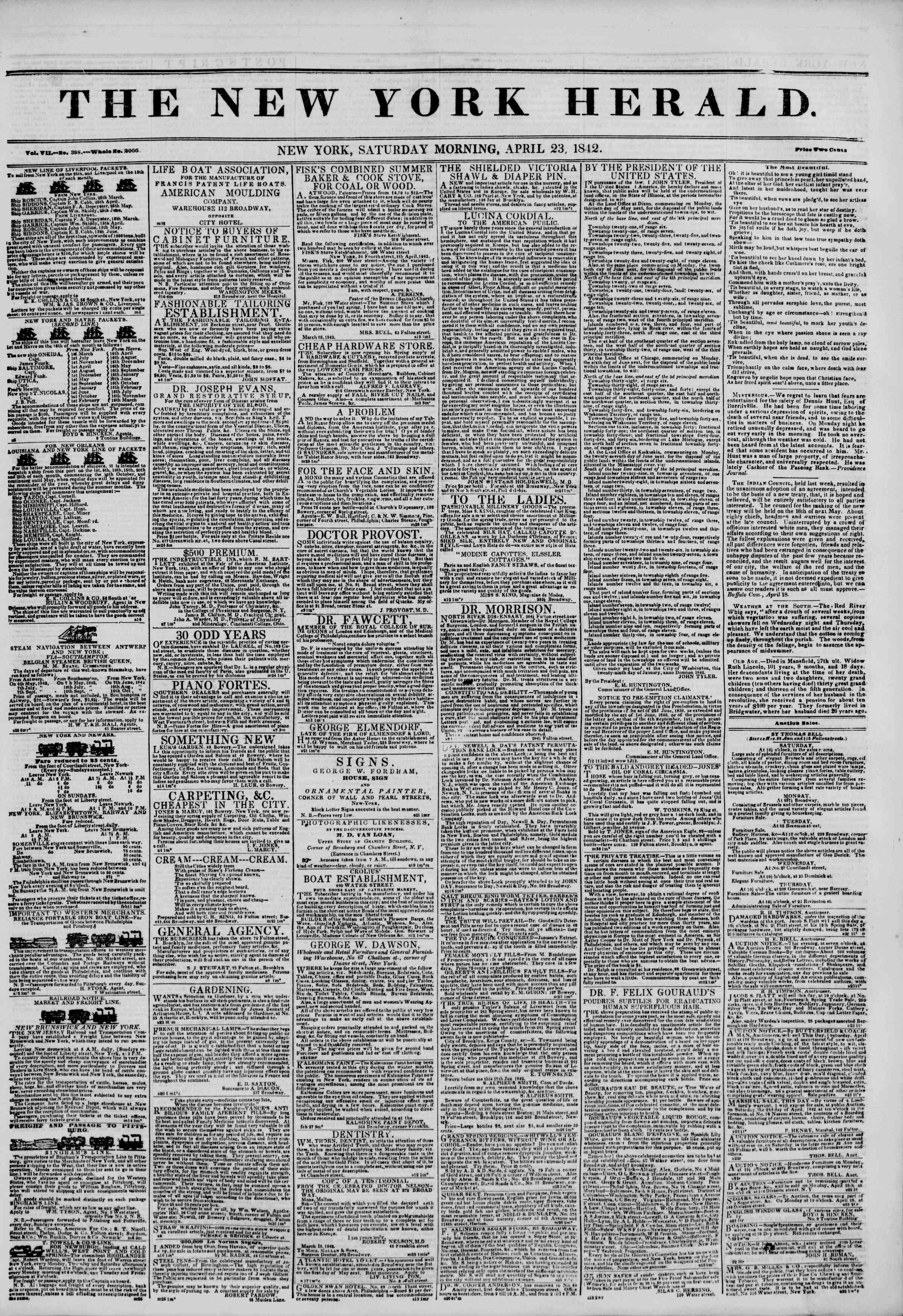 April 23, 1842 Tarihli The New York Herald Gazetesi Sayfa 1