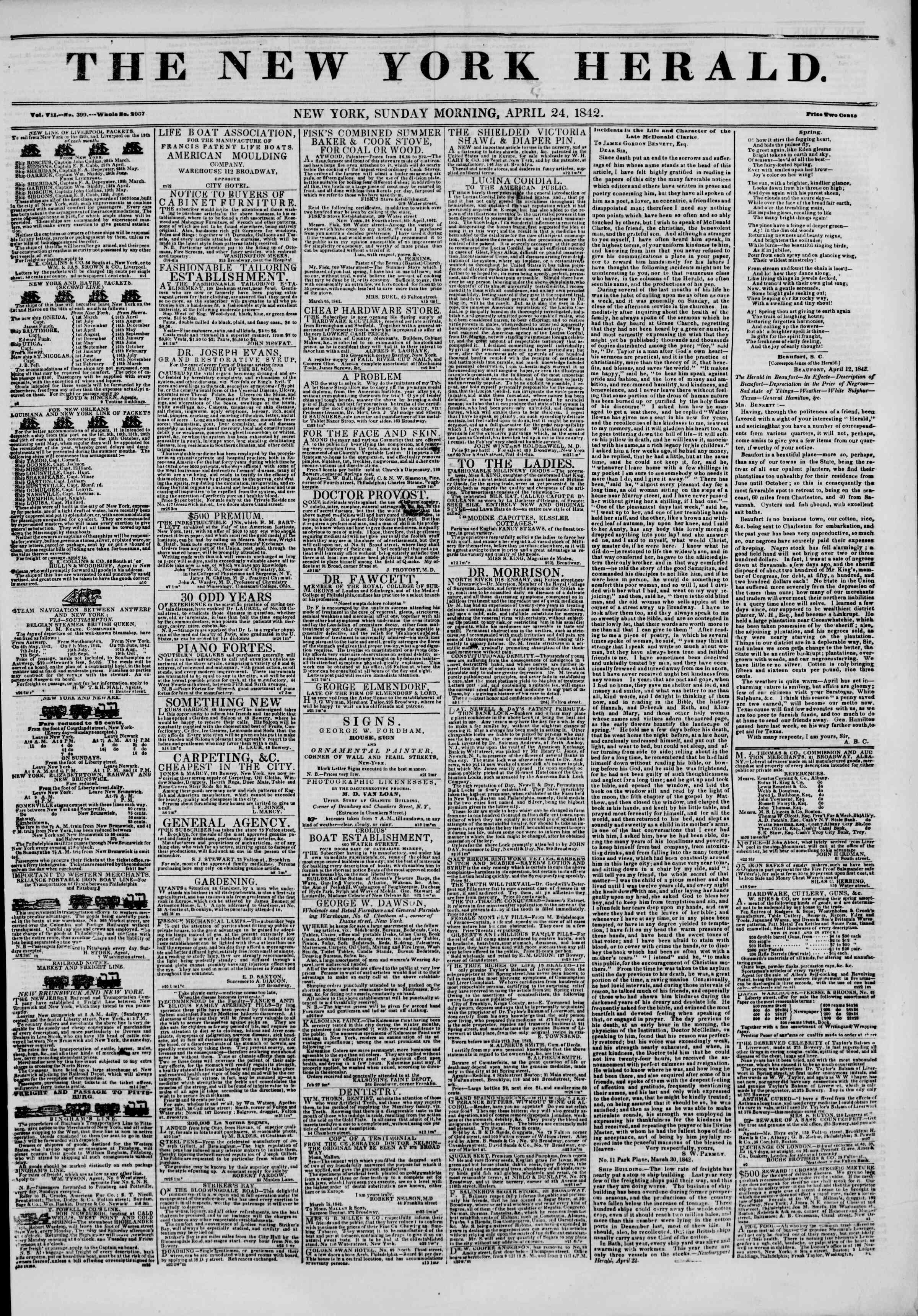 24 Nisan 1842 Tarihli The New York Herald Gazetesi Sayfa 1