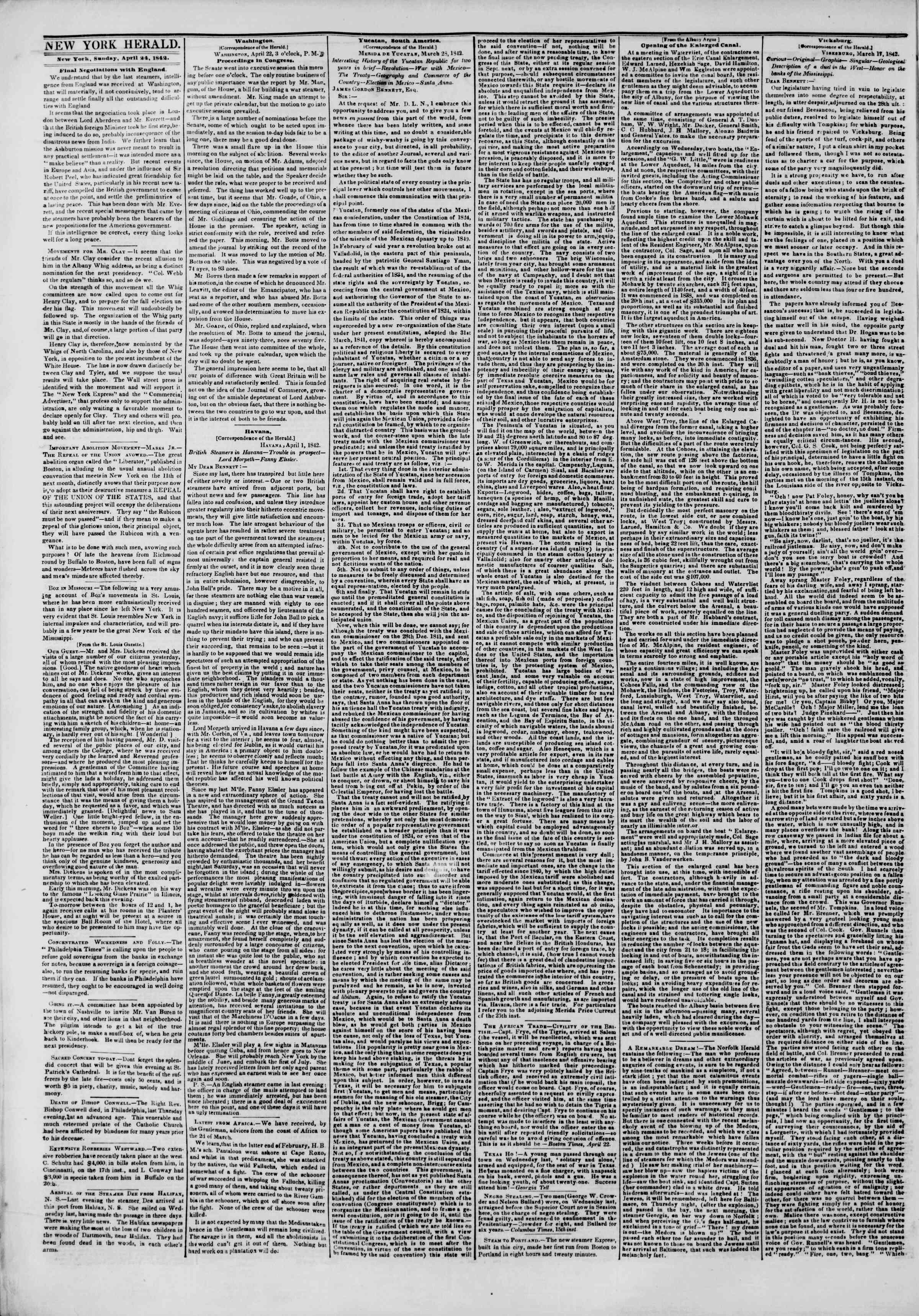 Newspaper of The New York Herald dated April 24, 1842 Page 2