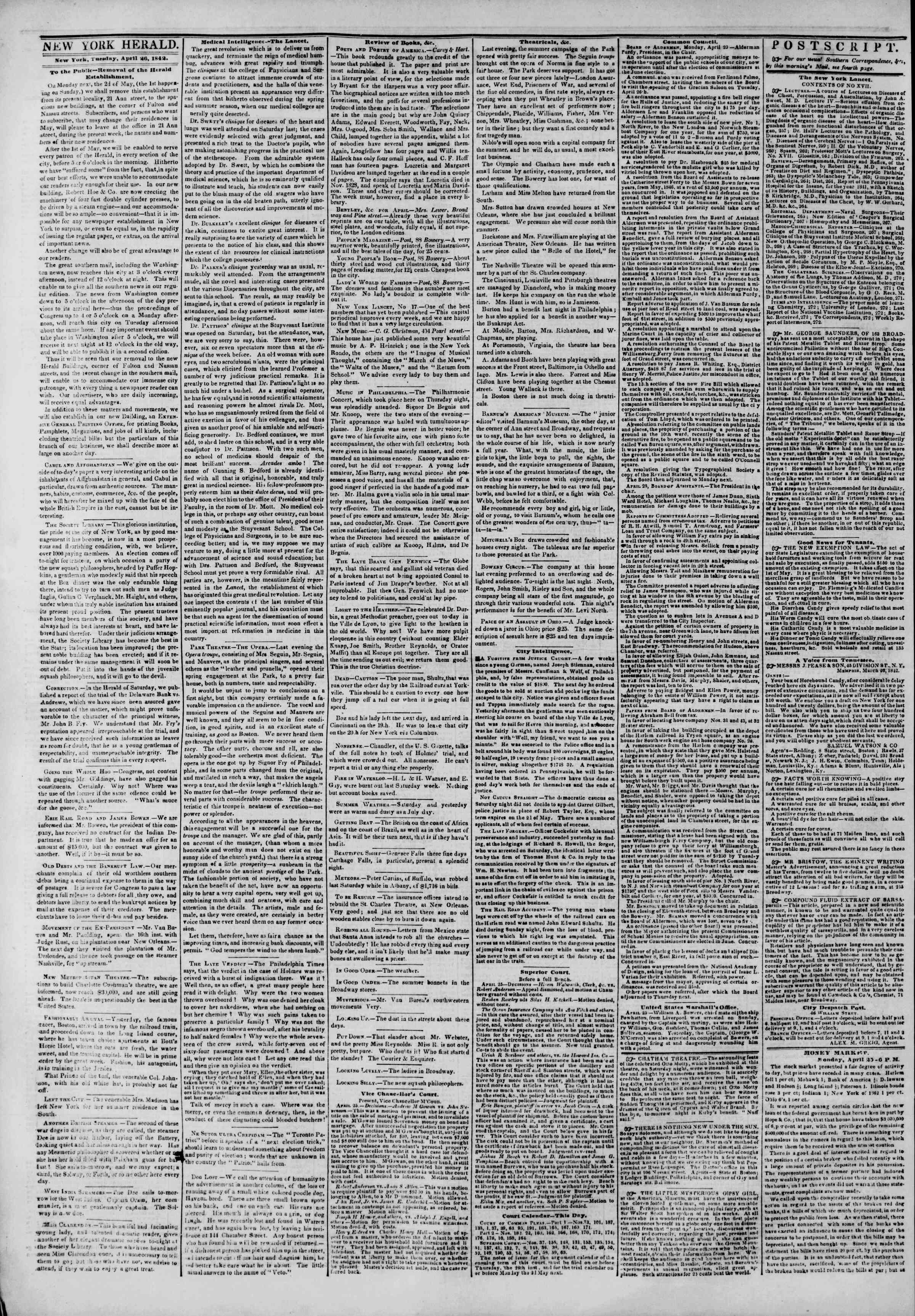 April 26, 1842 Tarihli The New York Herald Gazetesi Sayfa 2