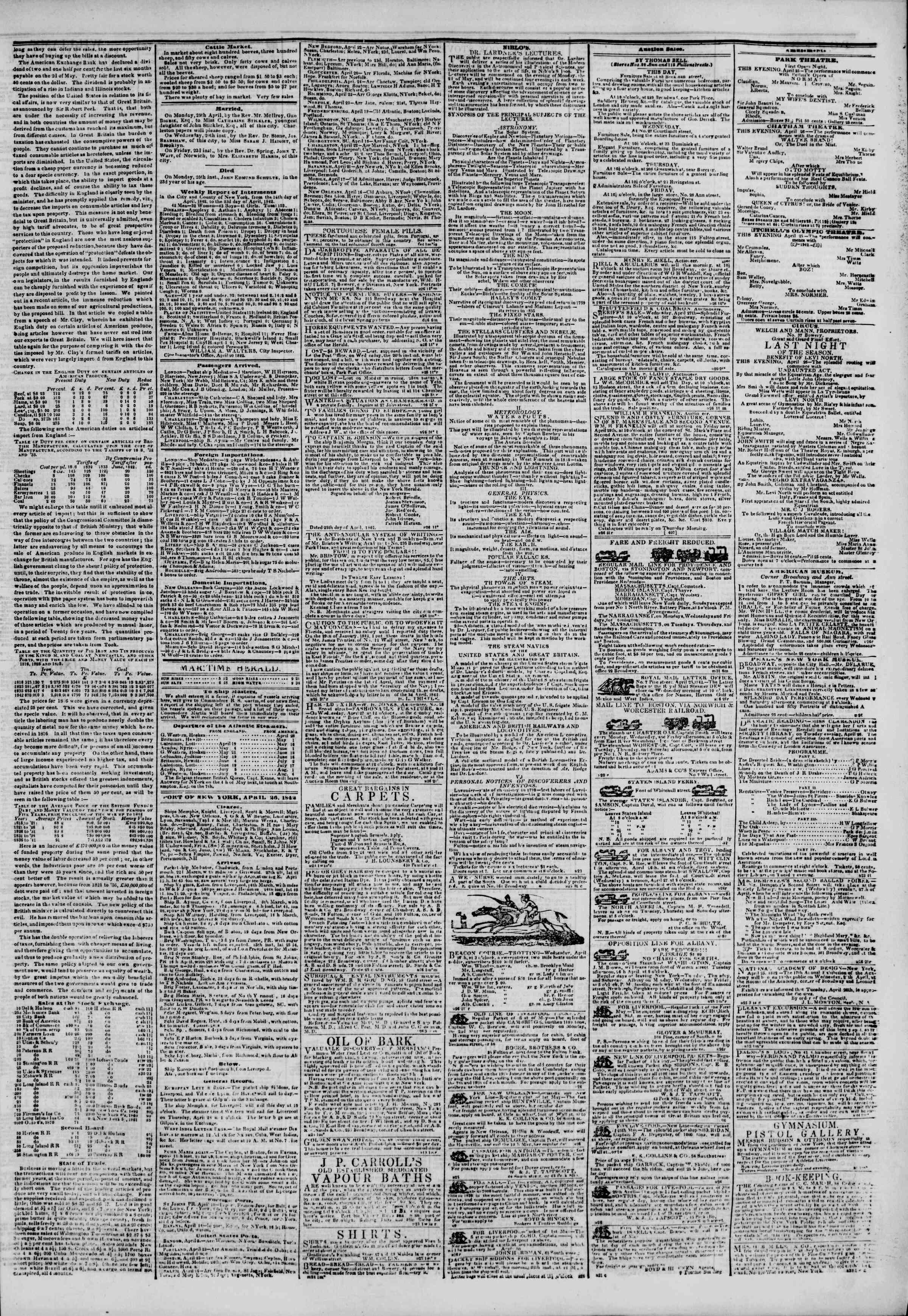 Newspaper of The New York Herald dated April 26, 1842 Page 3