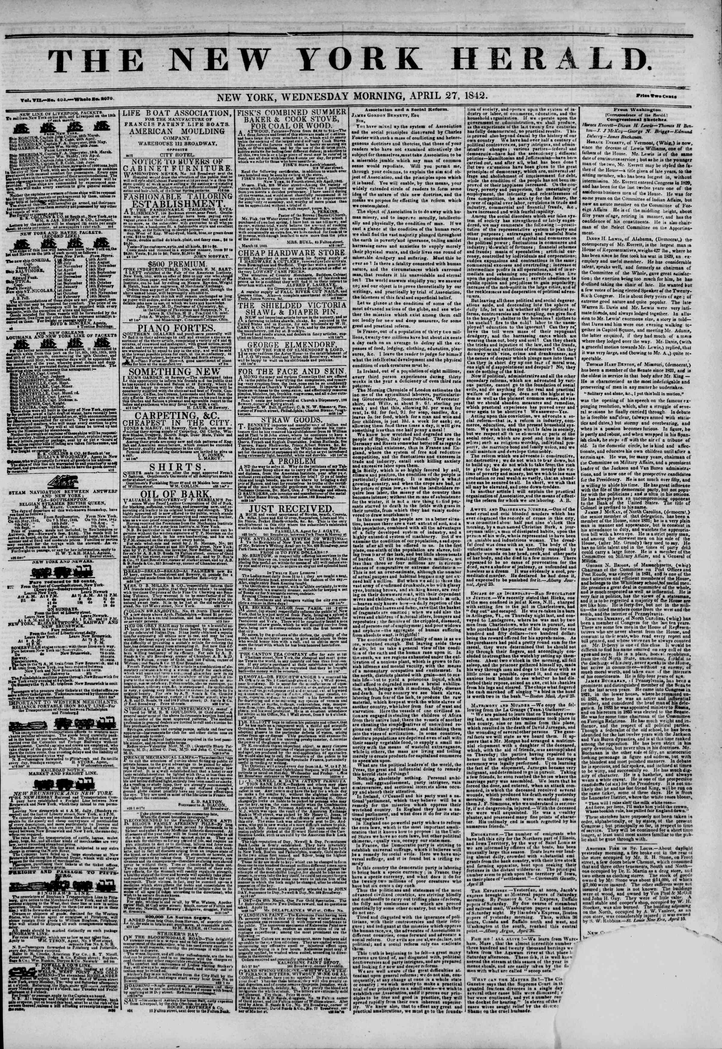 Newspaper of The New York Herald dated April 27, 1842 Page 1