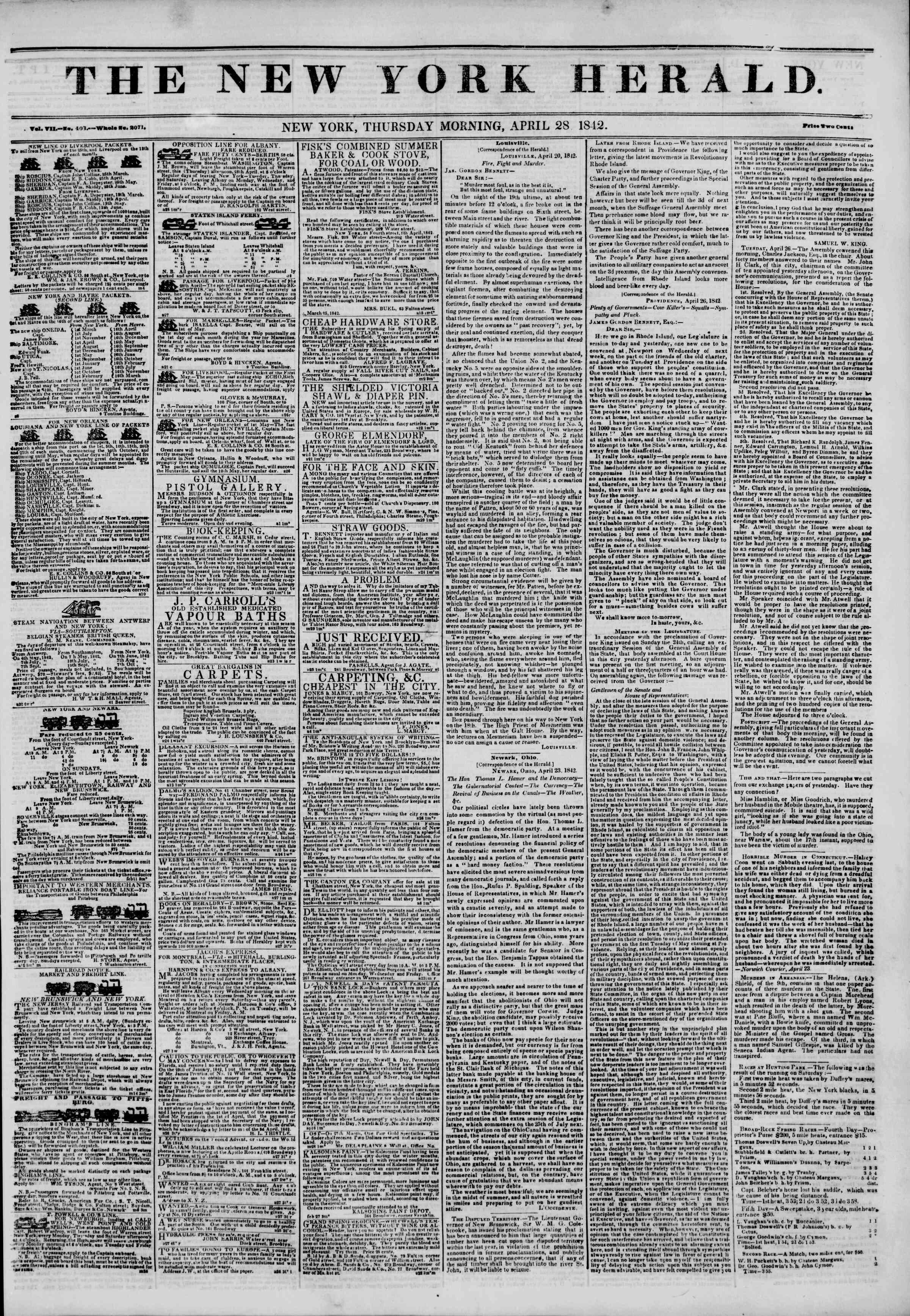April 28, 1842 Tarihli The New York Herald Gazetesi Sayfa 1