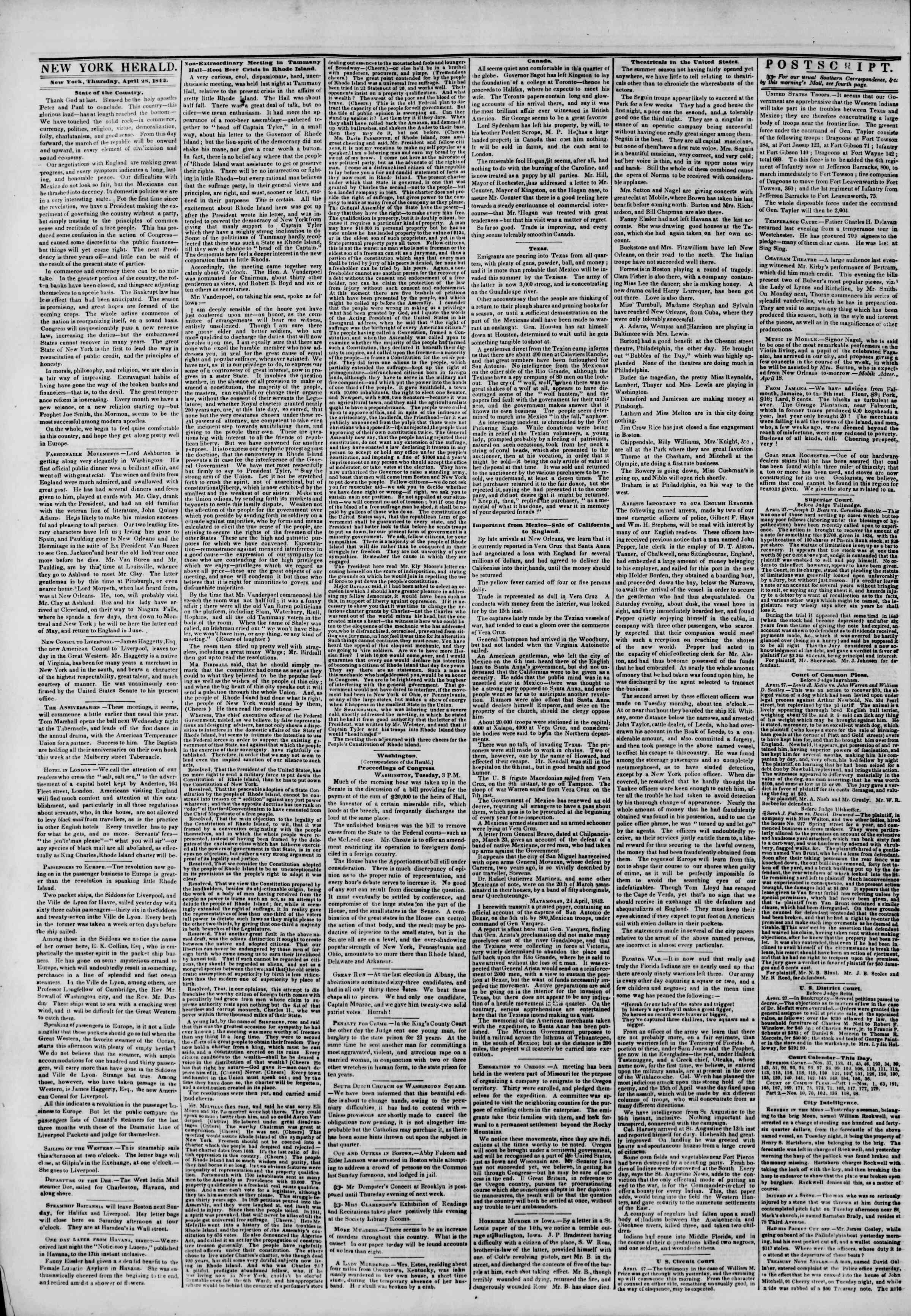 Newspaper of The New York Herald dated April 28, 1842 Page 2
