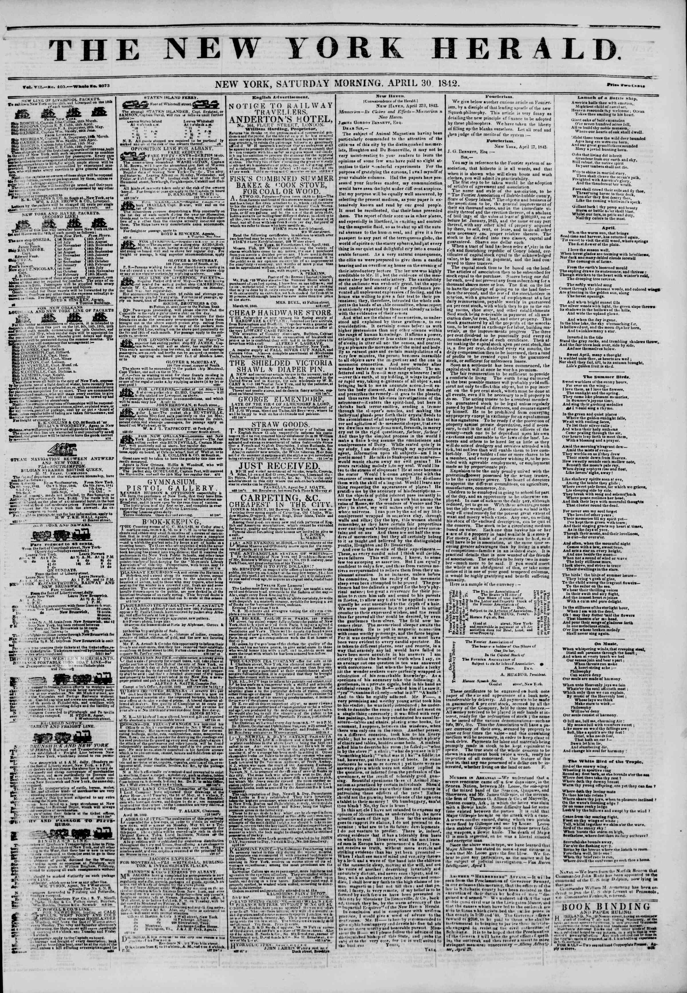 Newspaper of The New York Herald dated April 30, 1842 Page 1