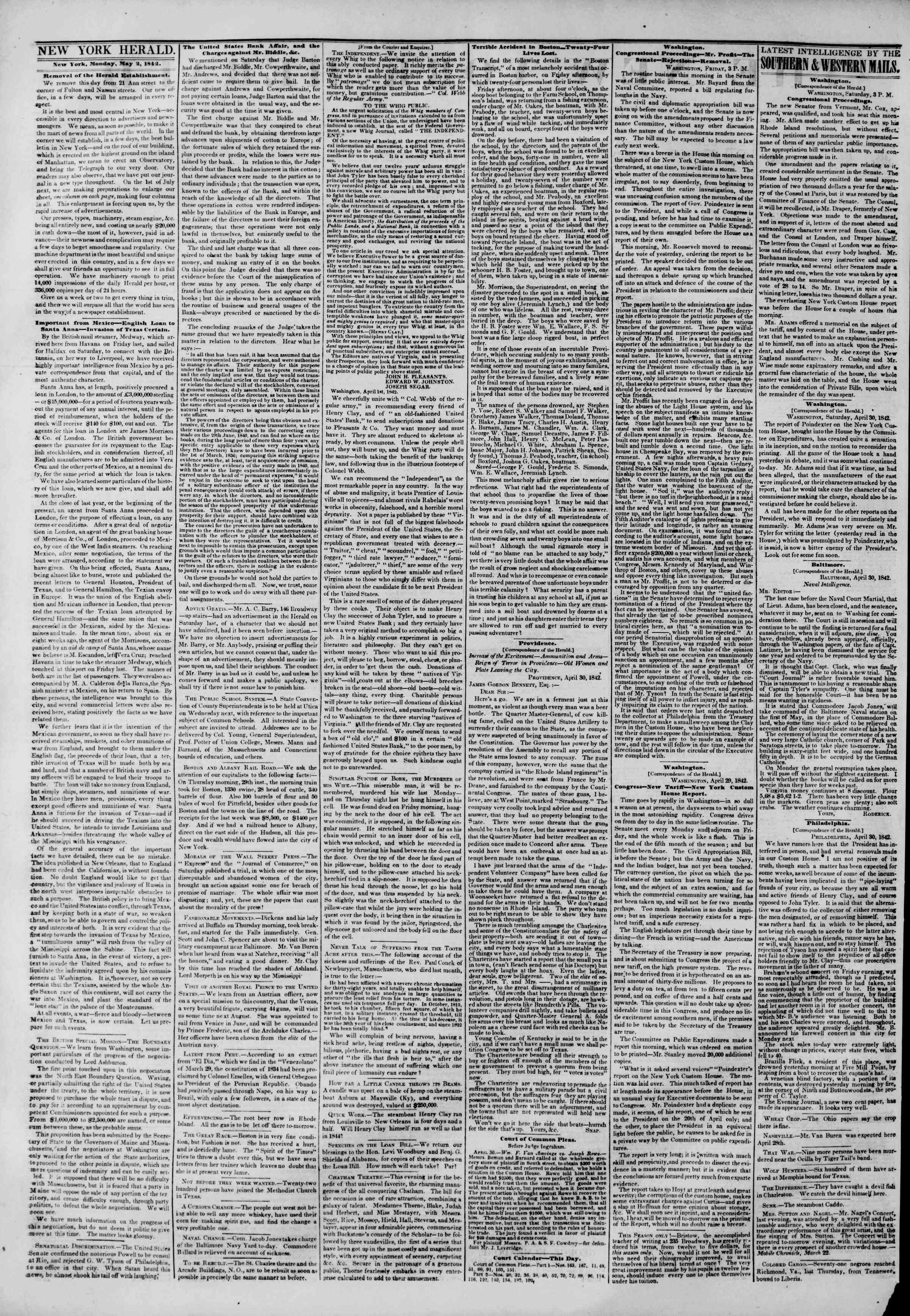 May 2, 1842 Tarihli The New York Herald Gazetesi Sayfa 2