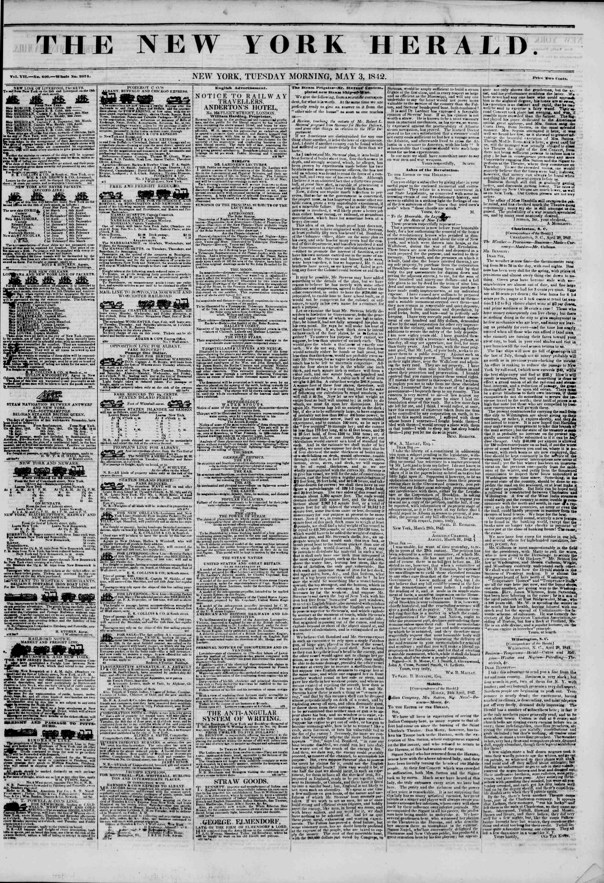 Newspaper of The New York Herald dated May 3, 1842 Page 1