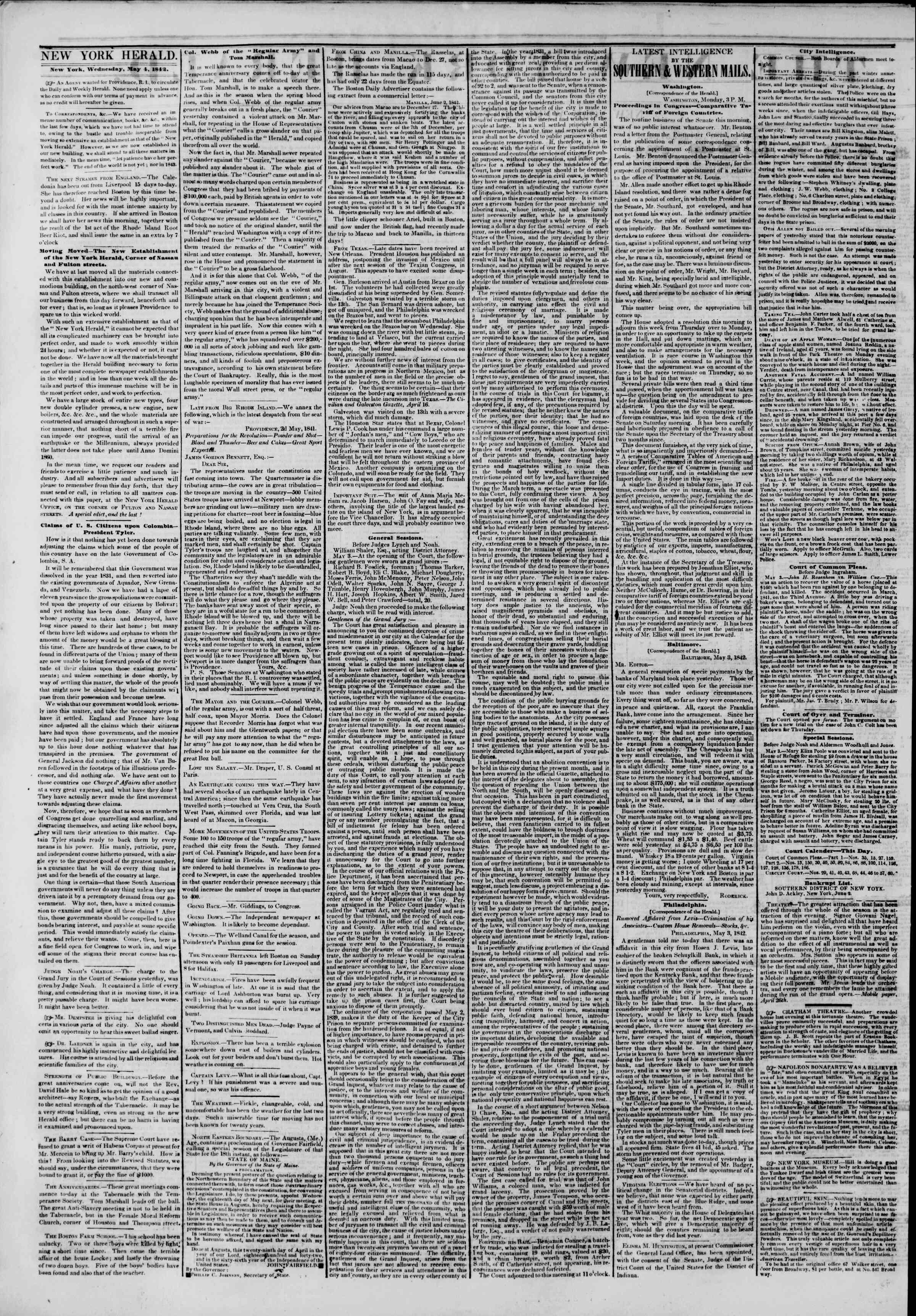 May 4, 1842 Tarihli The New York Herald Gazetesi Sayfa 2