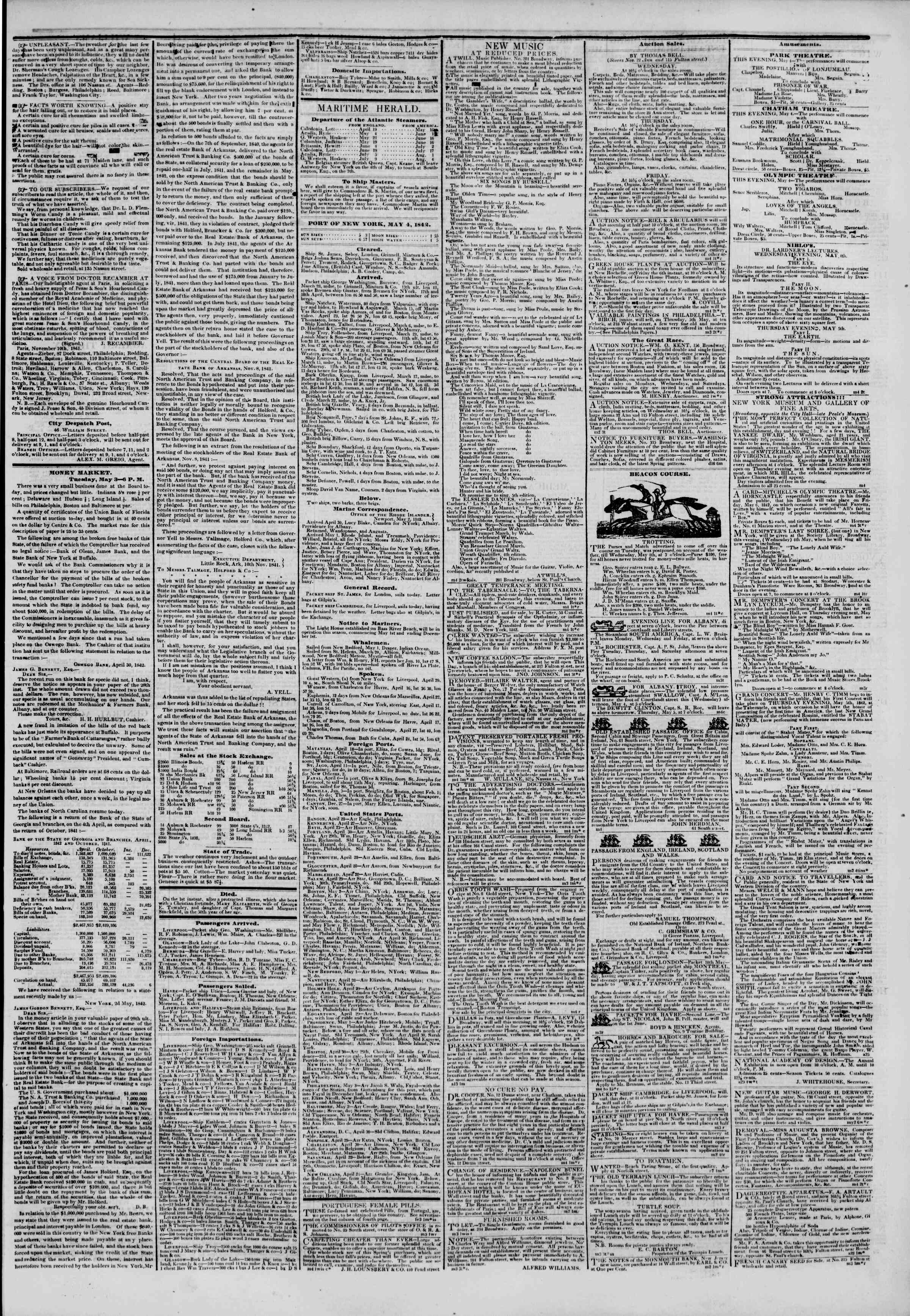 Newspaper of The New York Herald dated May 4, 1842 Page 3