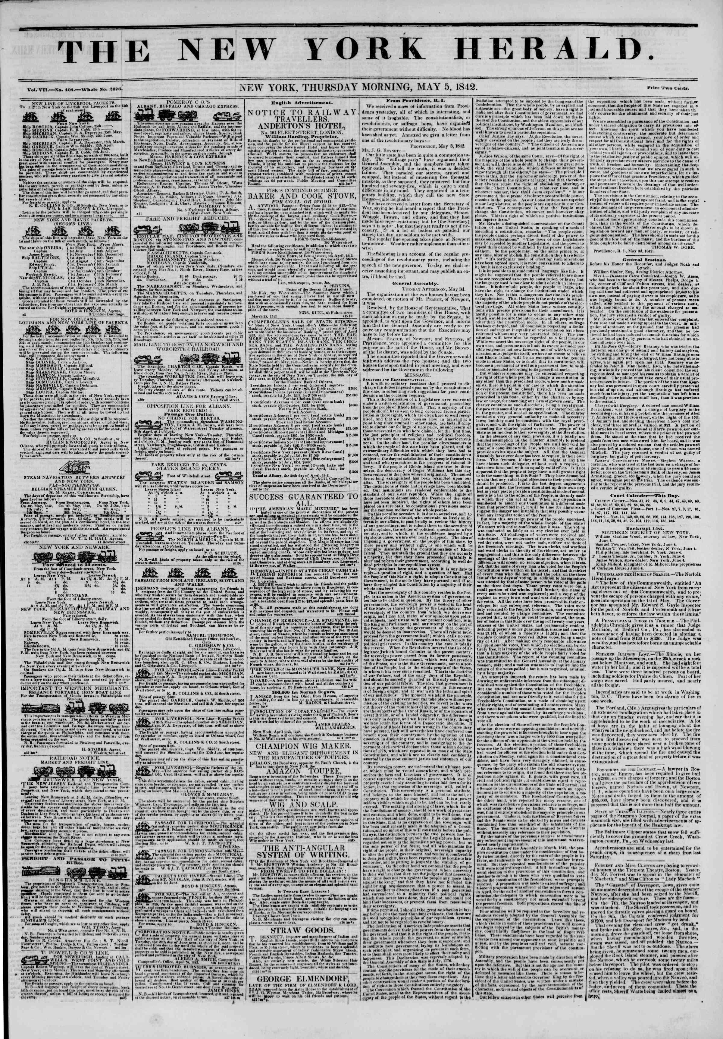 May 5, 1842 Tarihli The New York Herald Gazetesi Sayfa 1