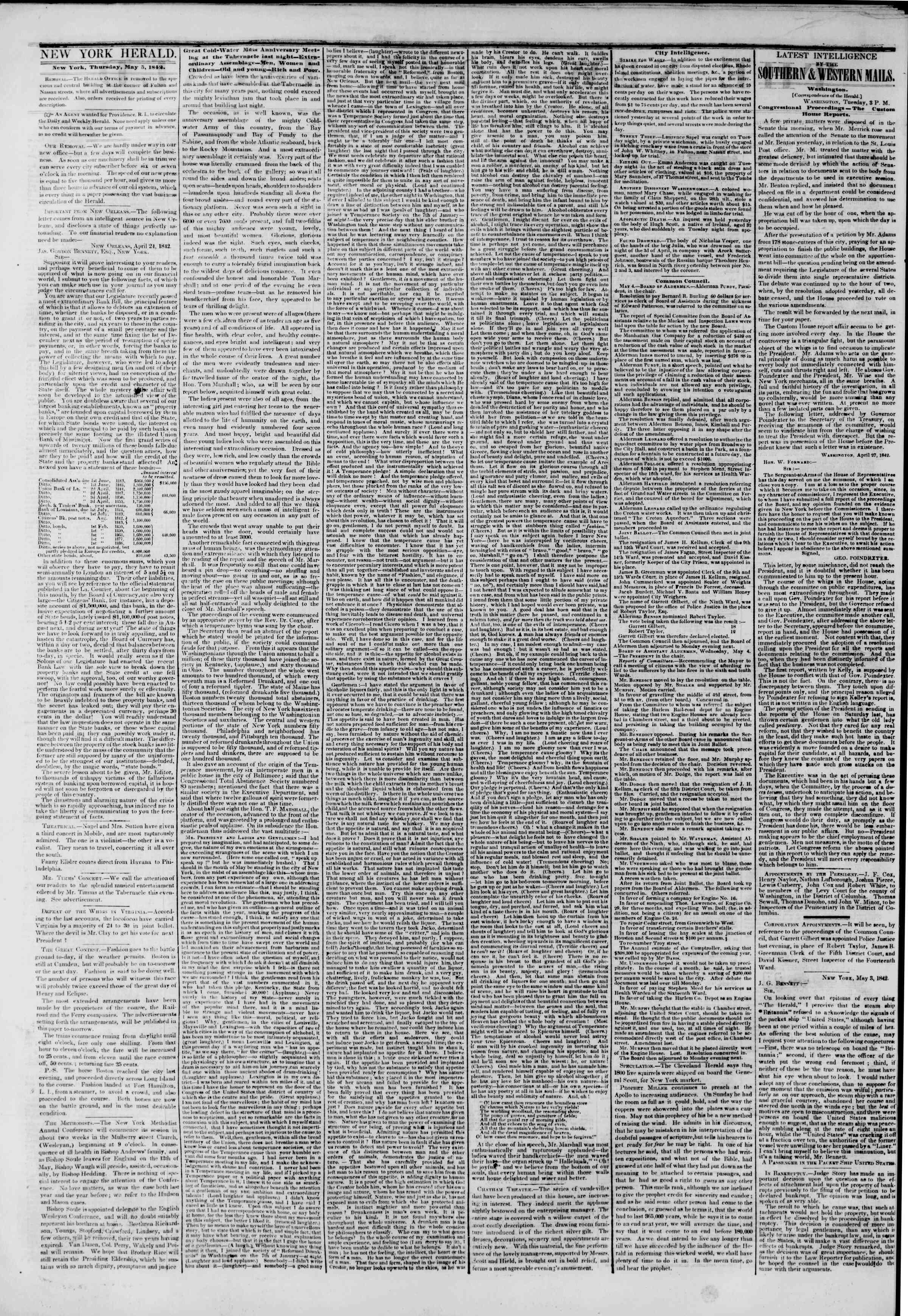 May 5, 1842 Tarihli The New York Herald Gazetesi Sayfa 2