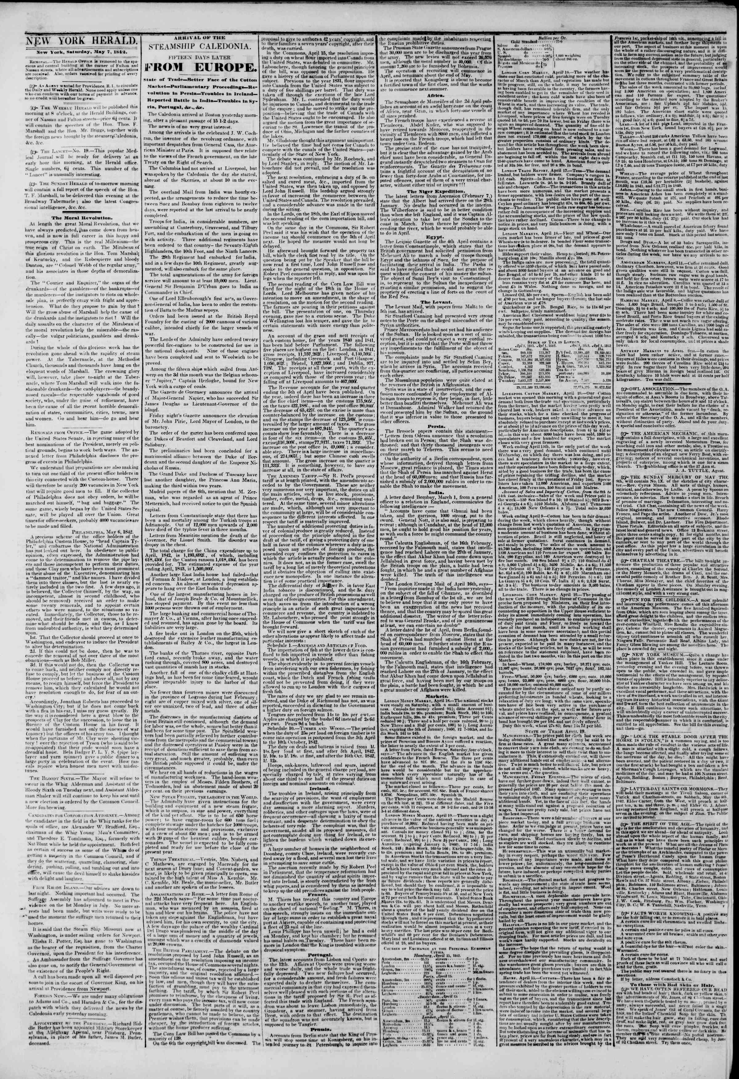 Newspaper of The New York Herald dated May 7, 1842 Page 2