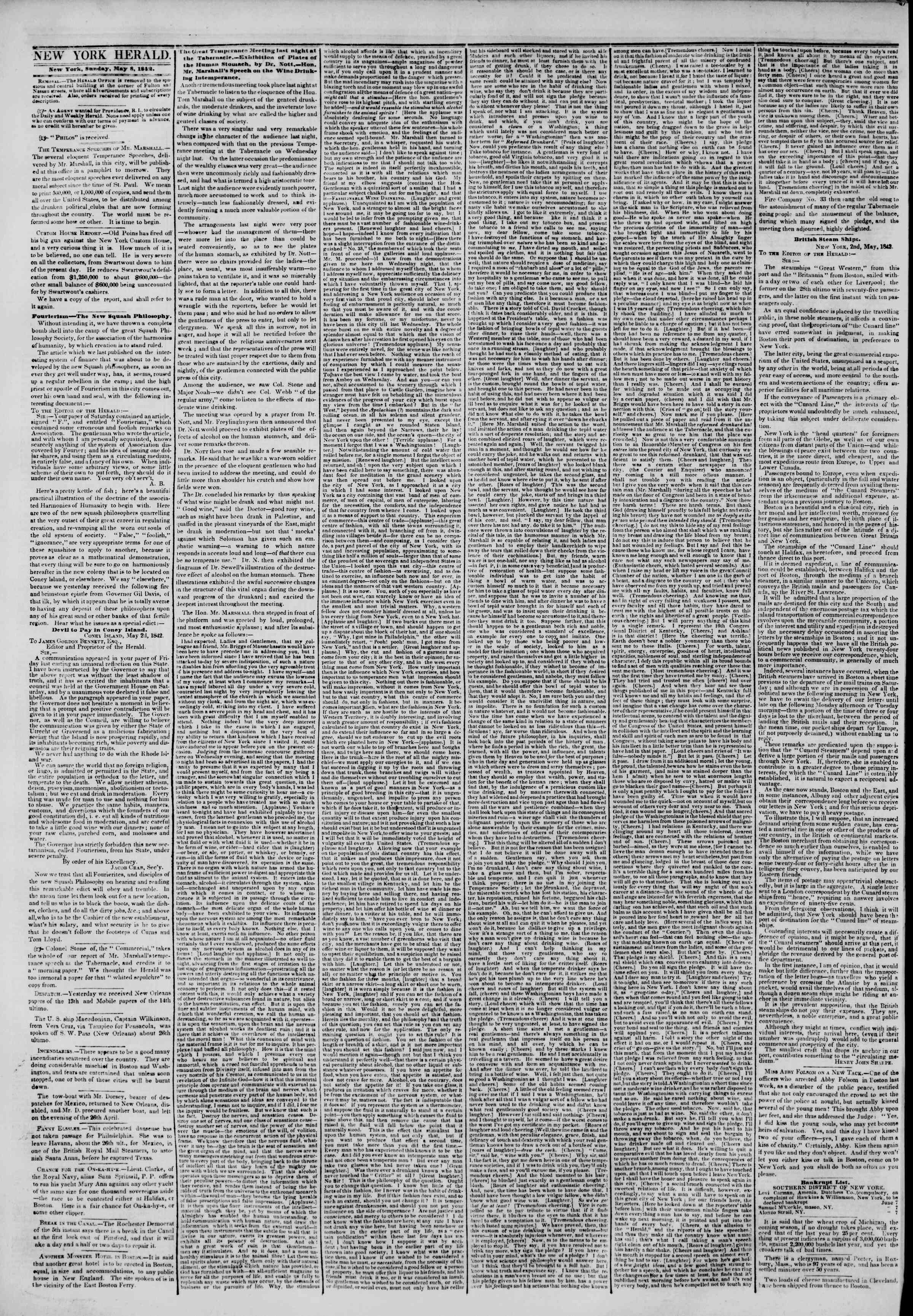 Newspaper of The New York Herald dated May 8, 1842 Page 2