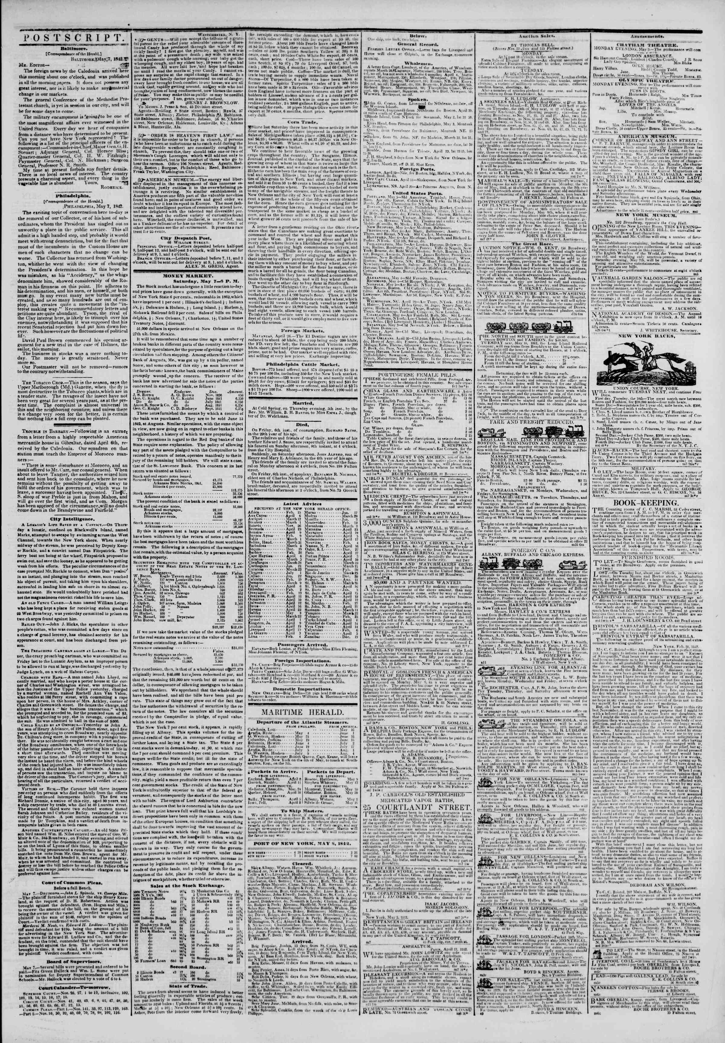 Newspaper of The New York Herald dated May 8, 1842 Page 3