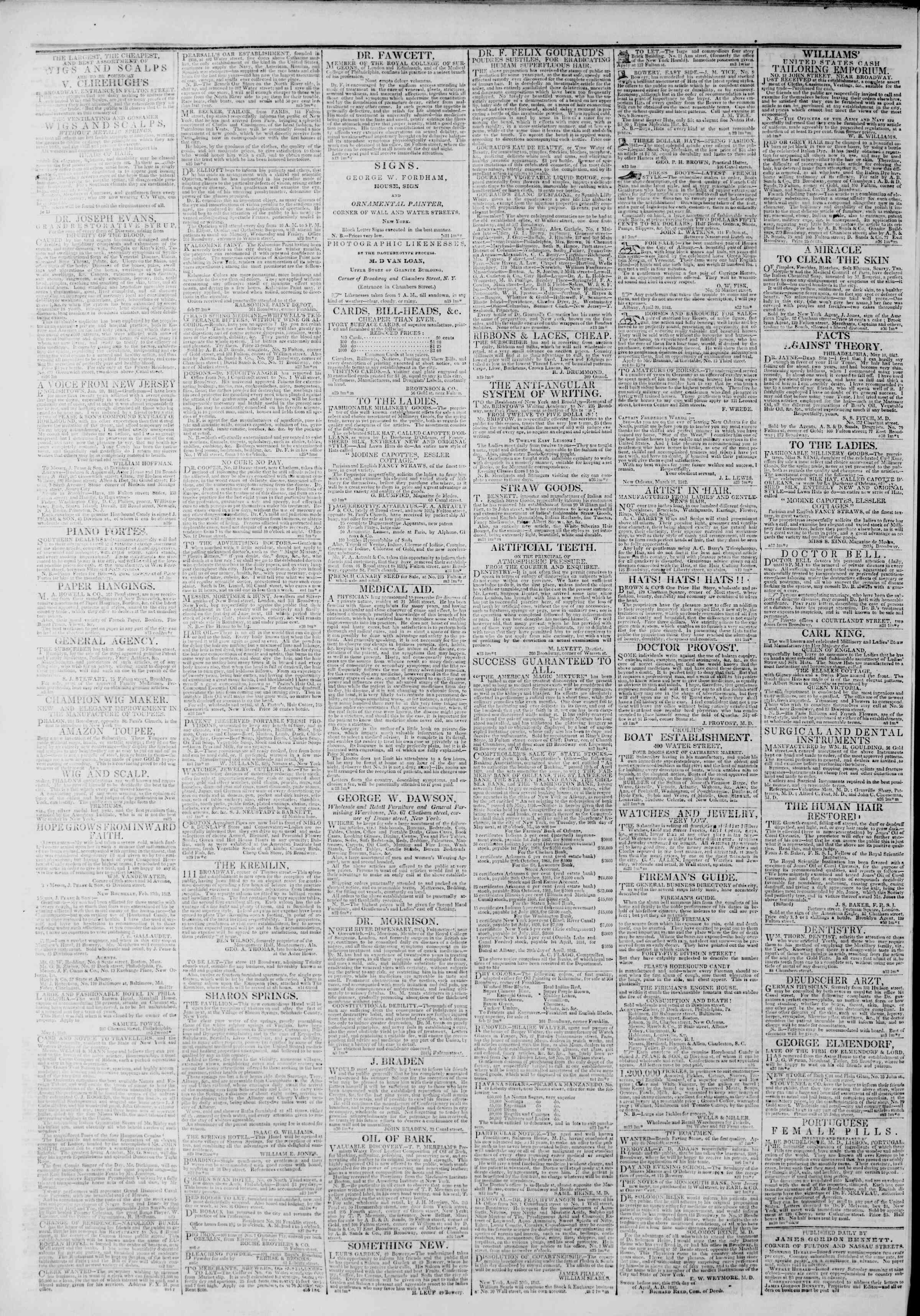 Newspaper of The New York Herald dated May 8, 1842 Page 4