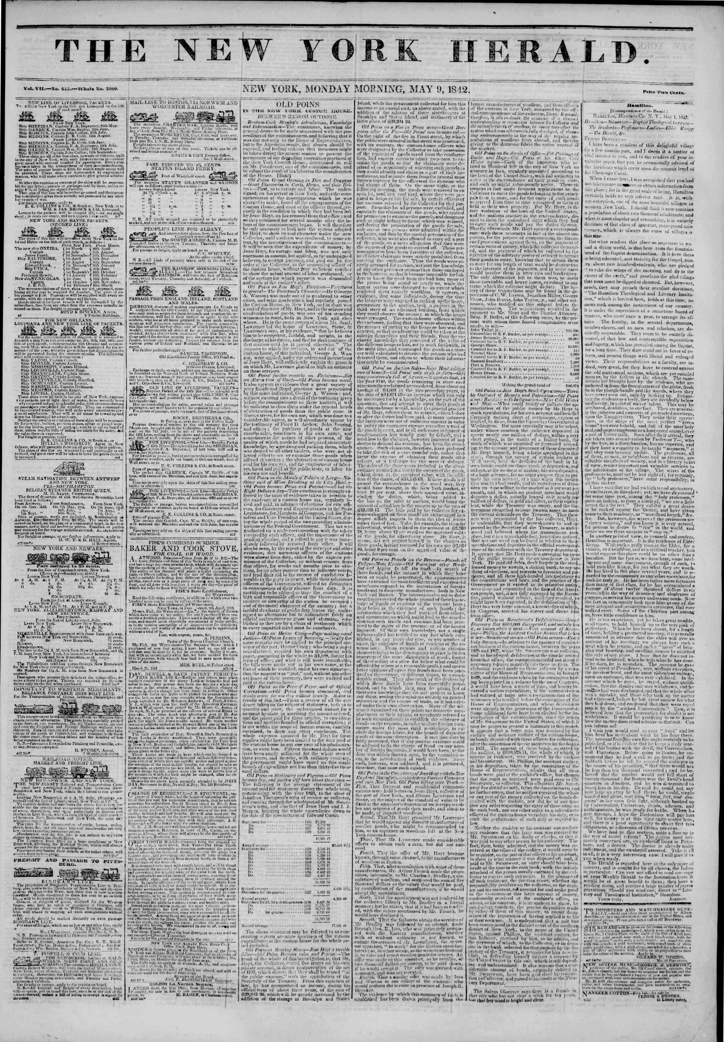 May 9, 1842 Tarihli The New York Herald Gazetesi Sayfa 1
