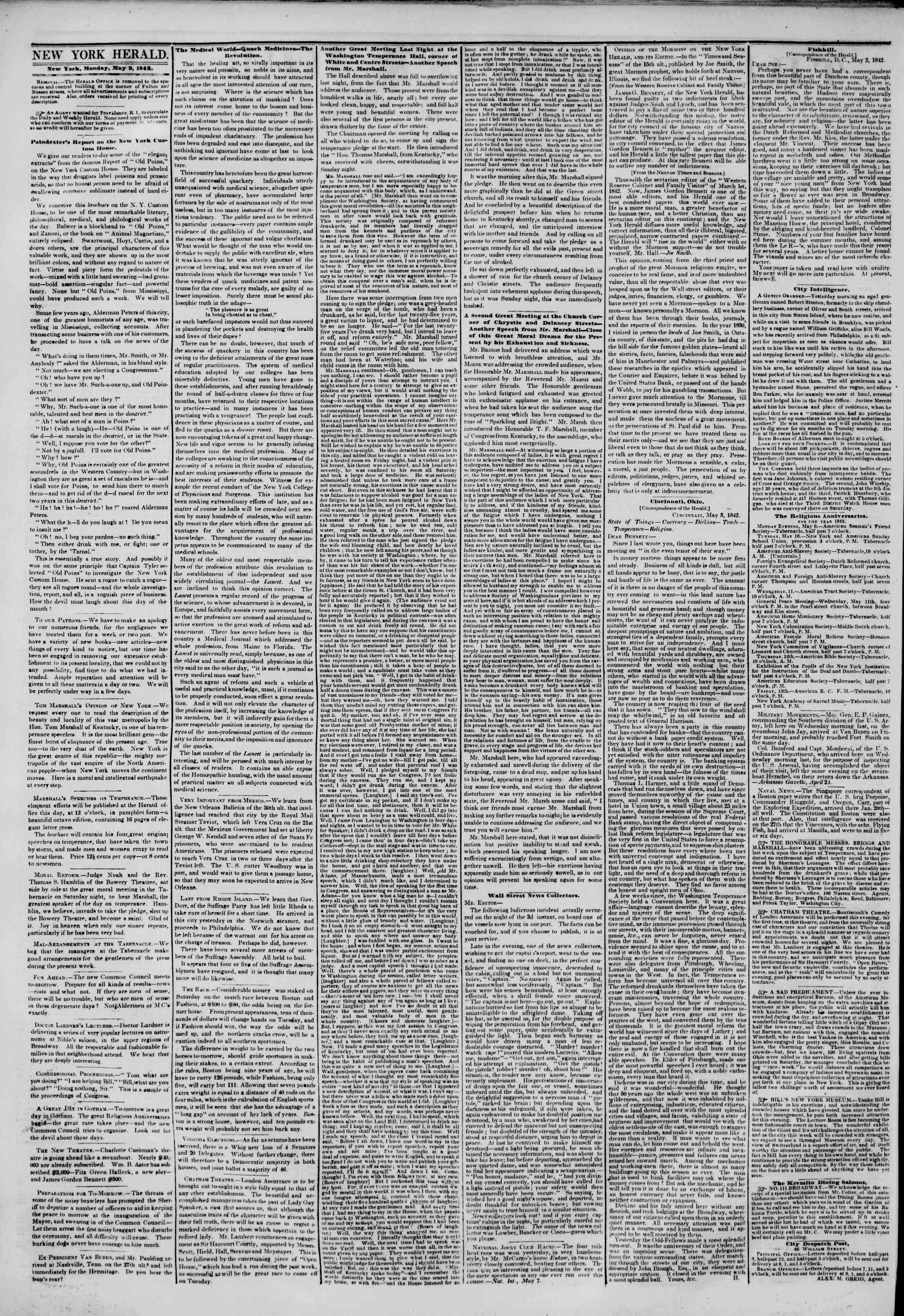May 9, 1842 Tarihli The New York Herald Gazetesi Sayfa 2