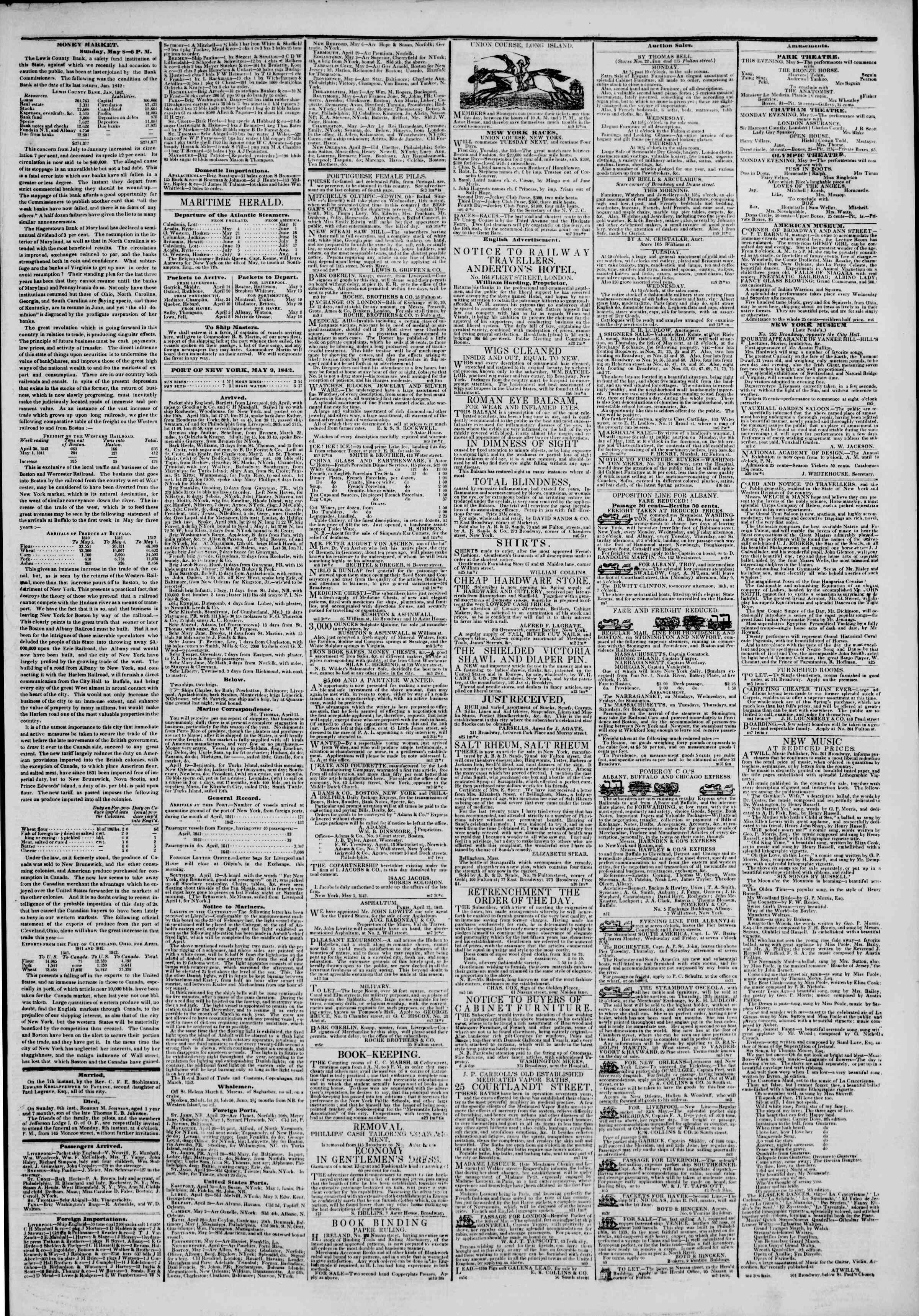 May 9, 1842 Tarihli The New York Herald Gazetesi Sayfa 3
