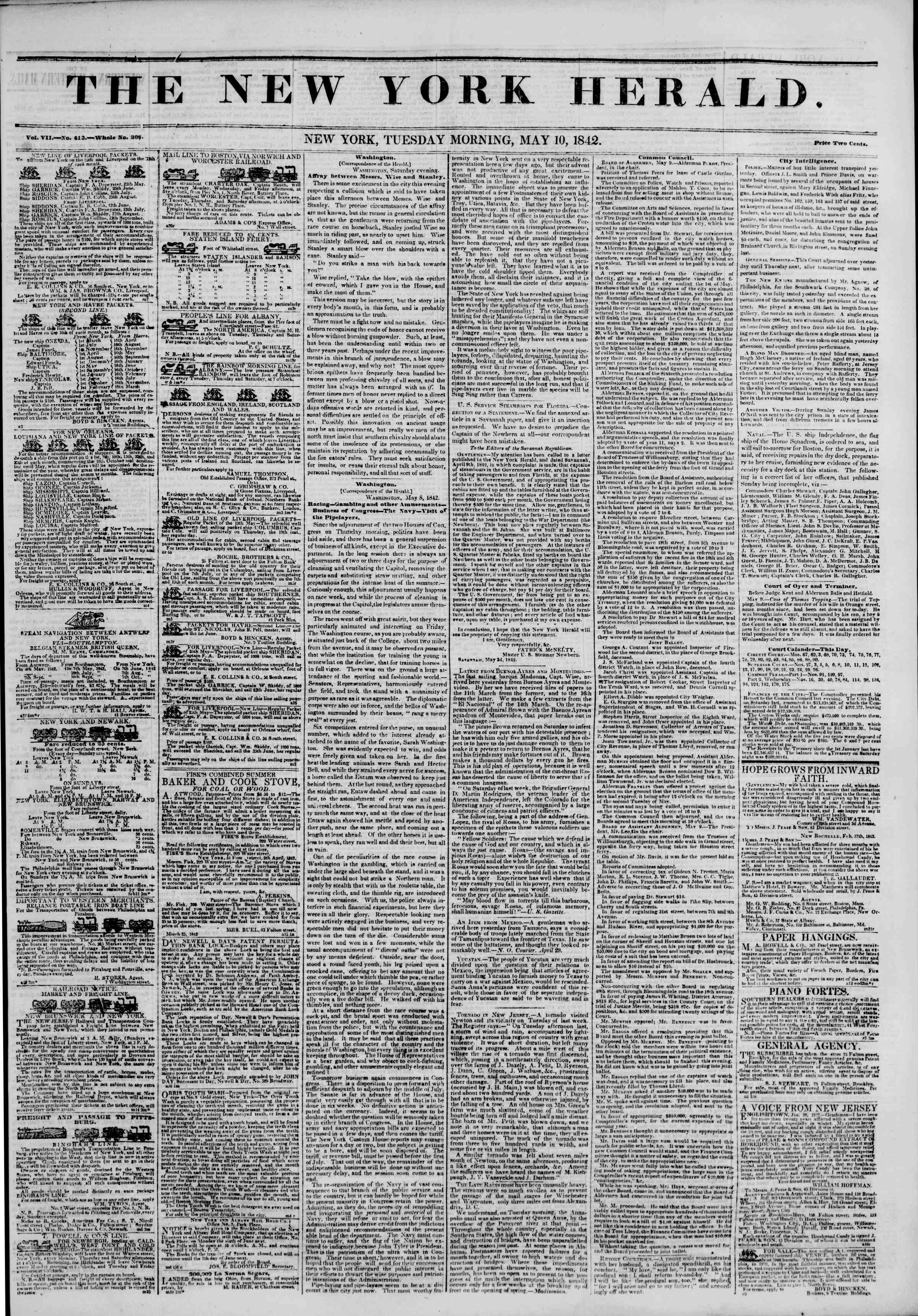 May 10, 1842 Tarihli The New York Herald Gazetesi Sayfa 1