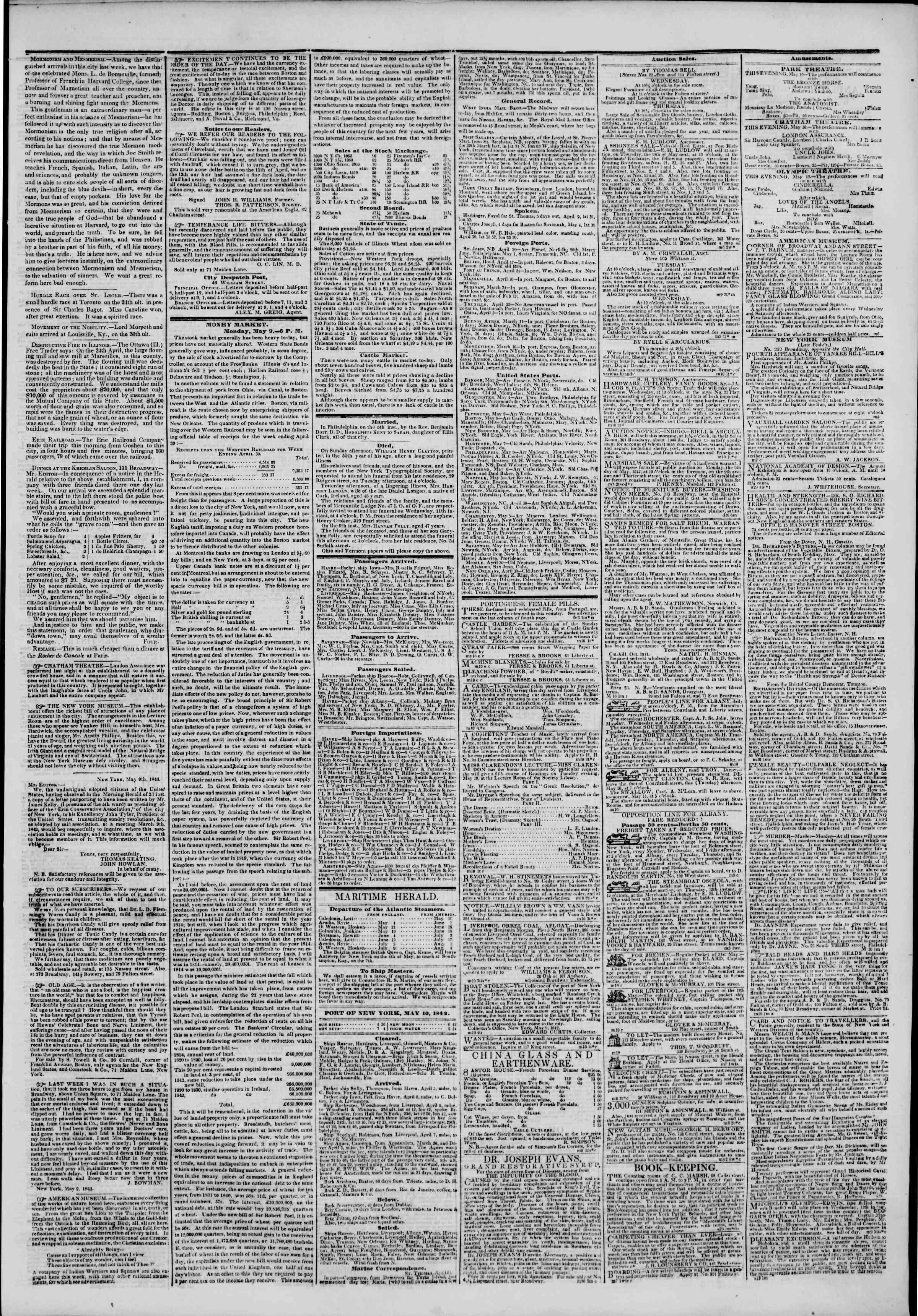 May 10, 1842 Tarihli The New York Herald Gazetesi Sayfa 3