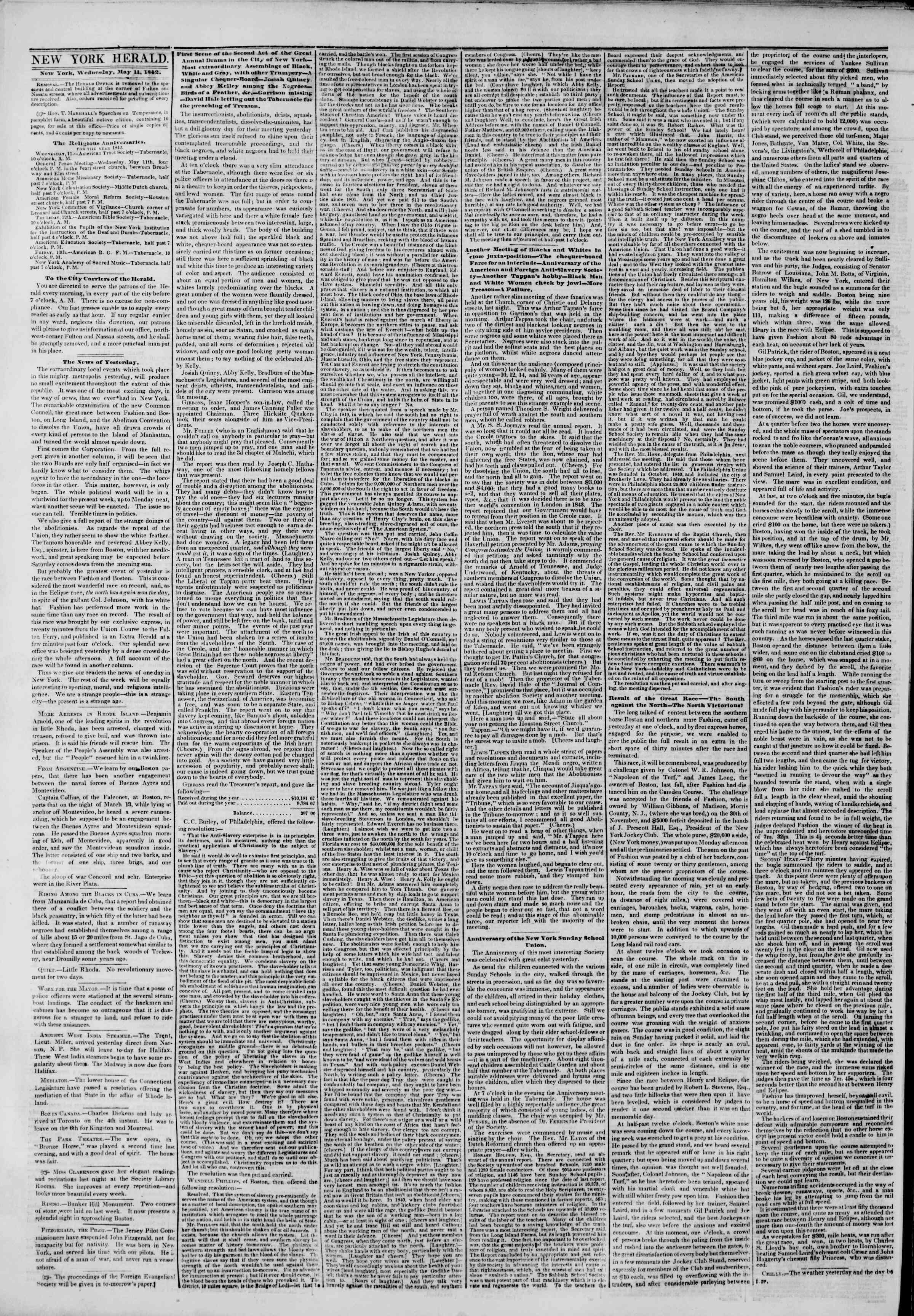 Newspaper of The New York Herald dated May 11, 1842 Page 2