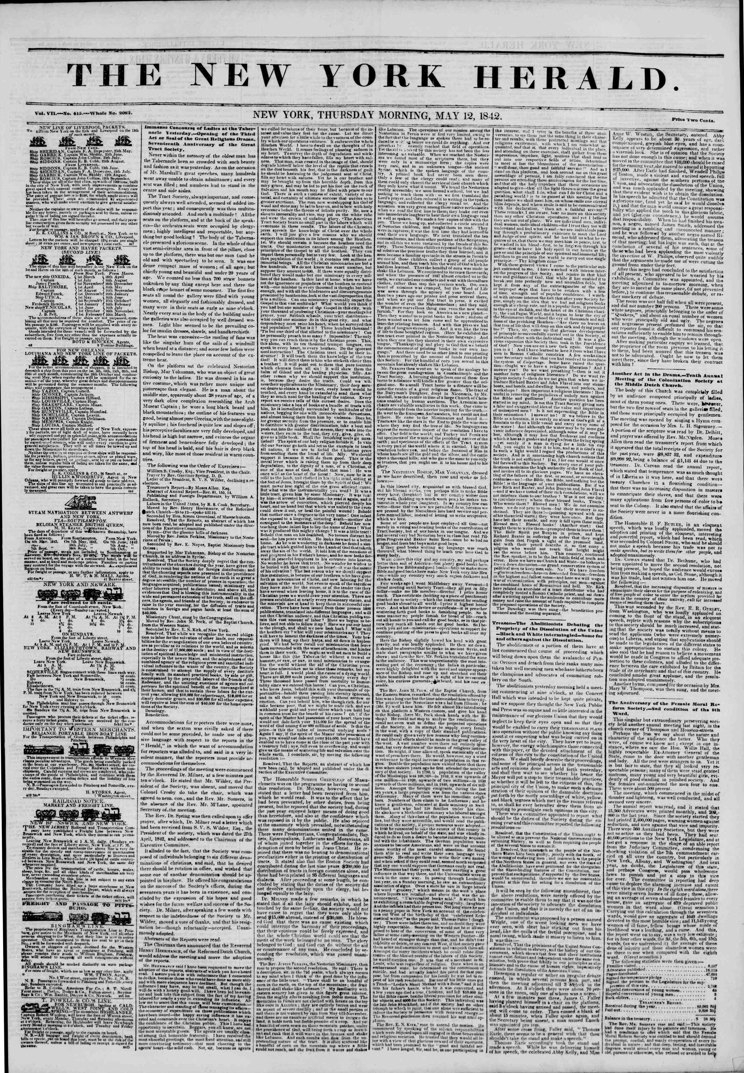 May 12, 1842 Tarihli The New York Herald Gazetesi Sayfa 1