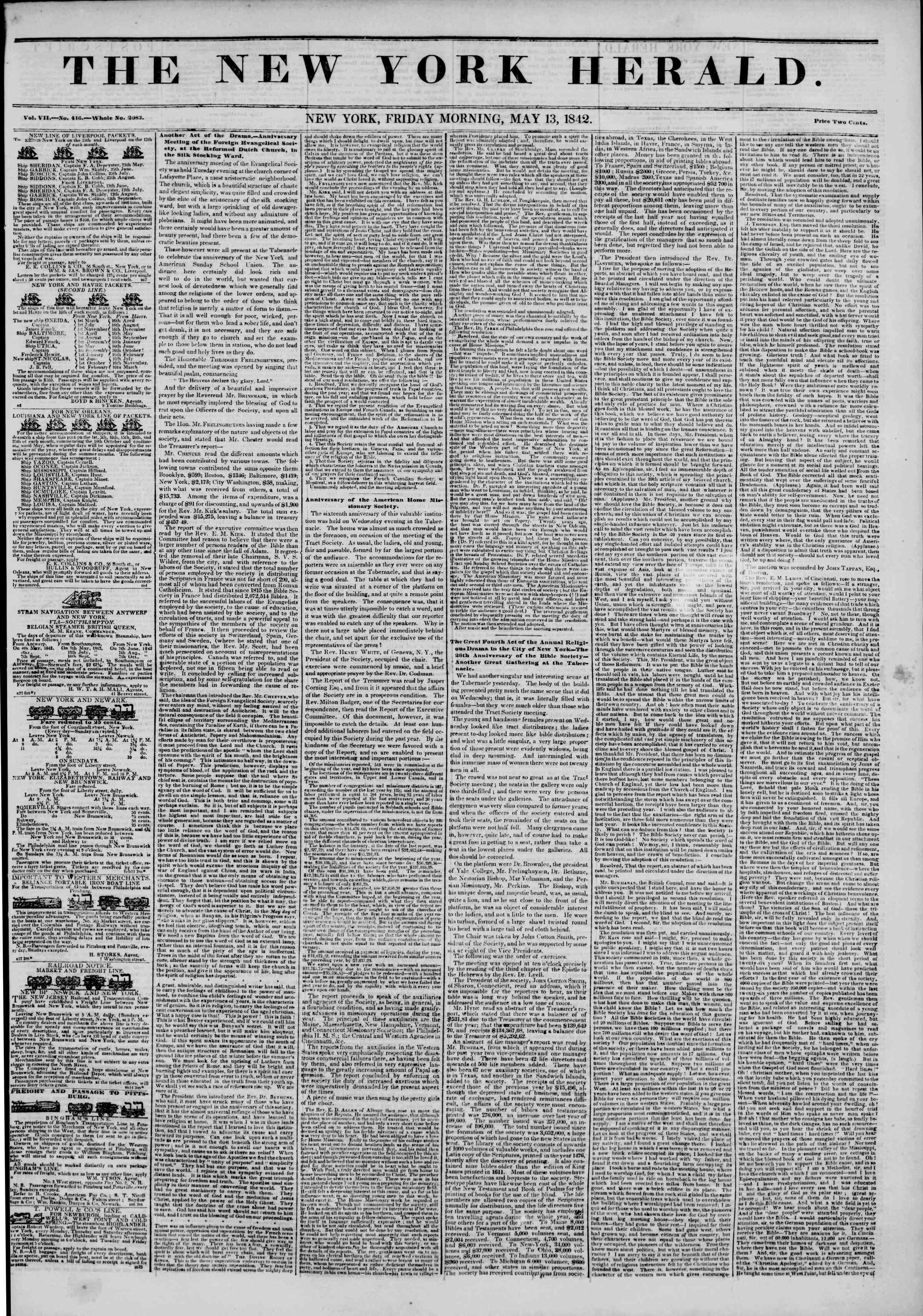 May 13, 1842 Tarihli The New York Herald Gazetesi Sayfa 1