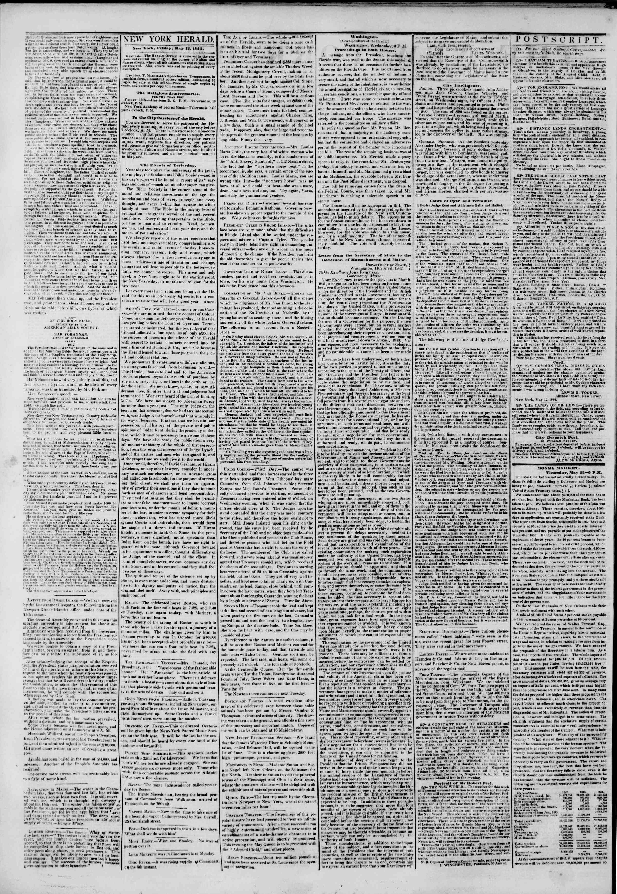 Newspaper of The New York Herald dated May 13, 1842 Page 2