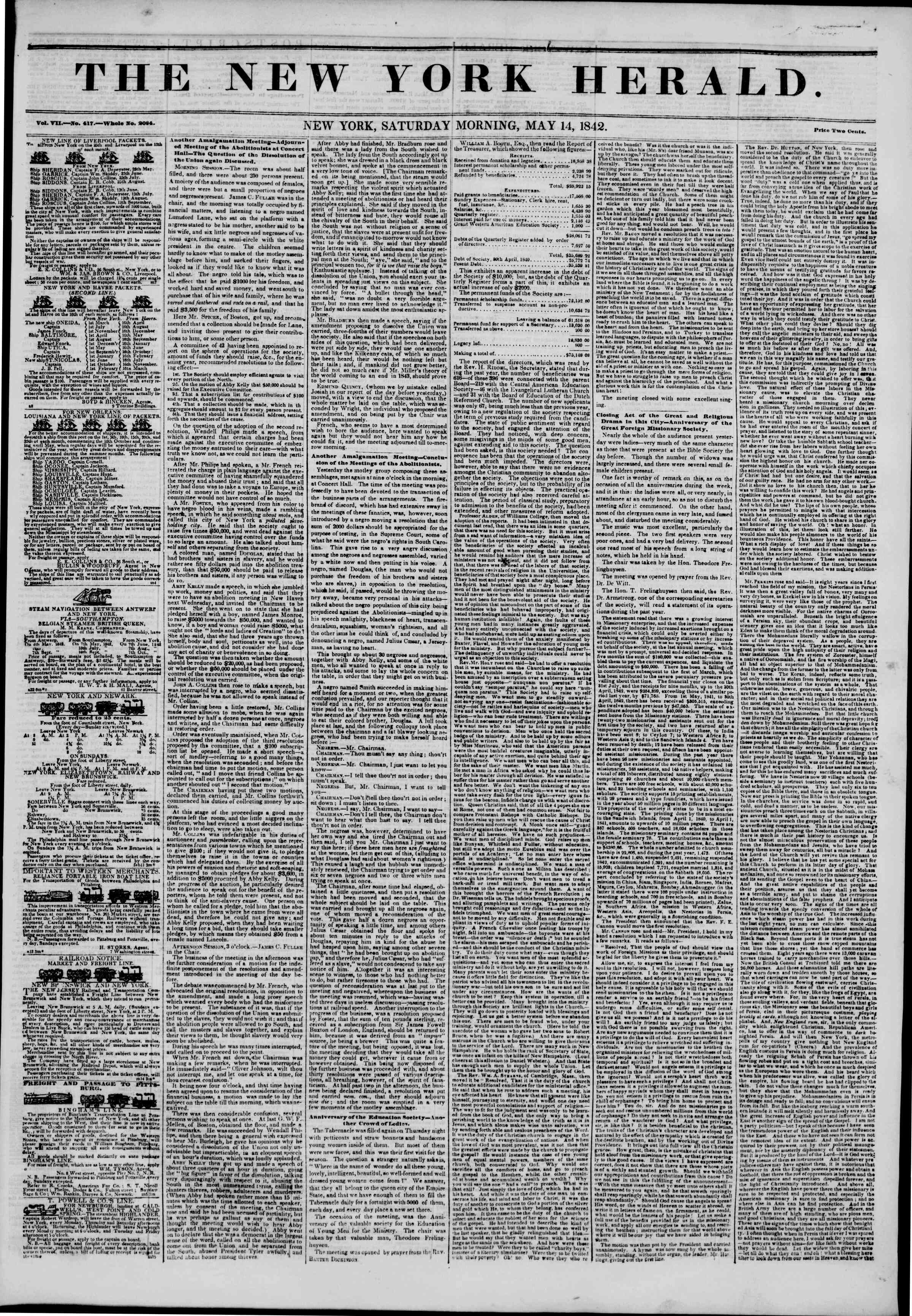 Newspaper of The New York Herald dated May 14, 1842 Page 1